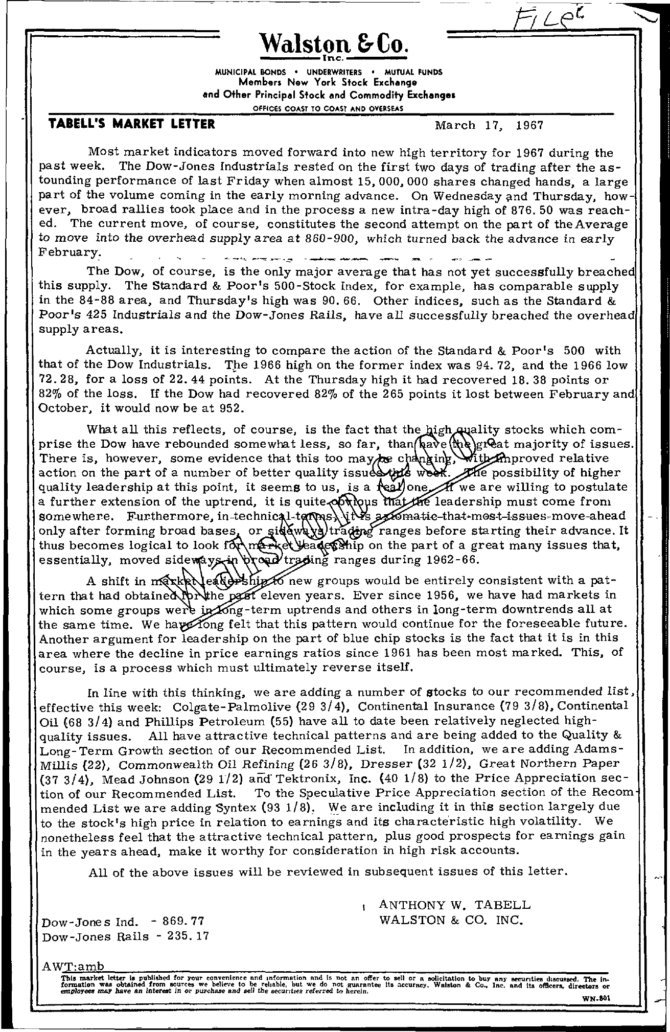 Tabell's Market Letter - March 17, 1967