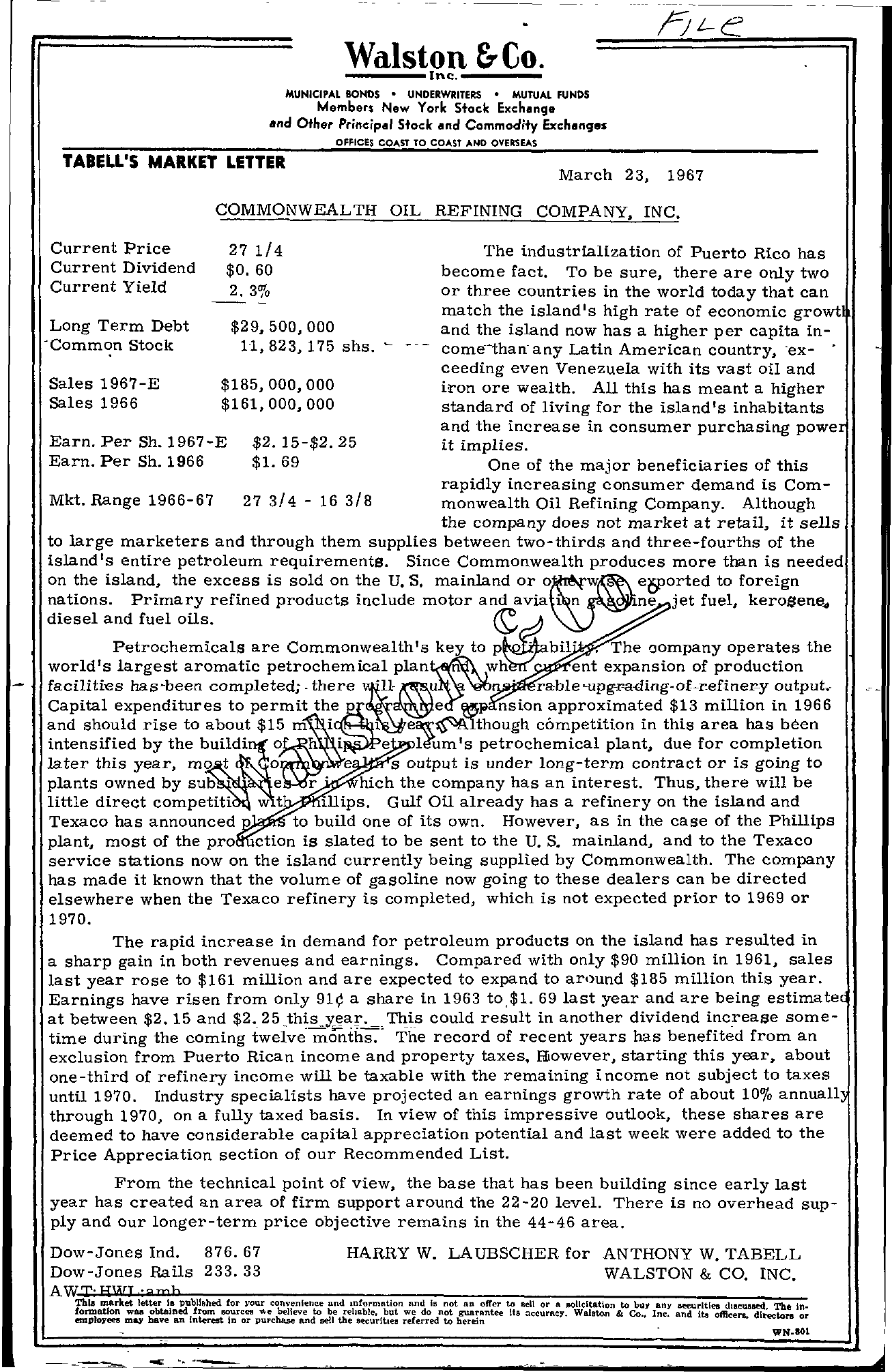 Tabell's Market Letter - March 23, 1967
