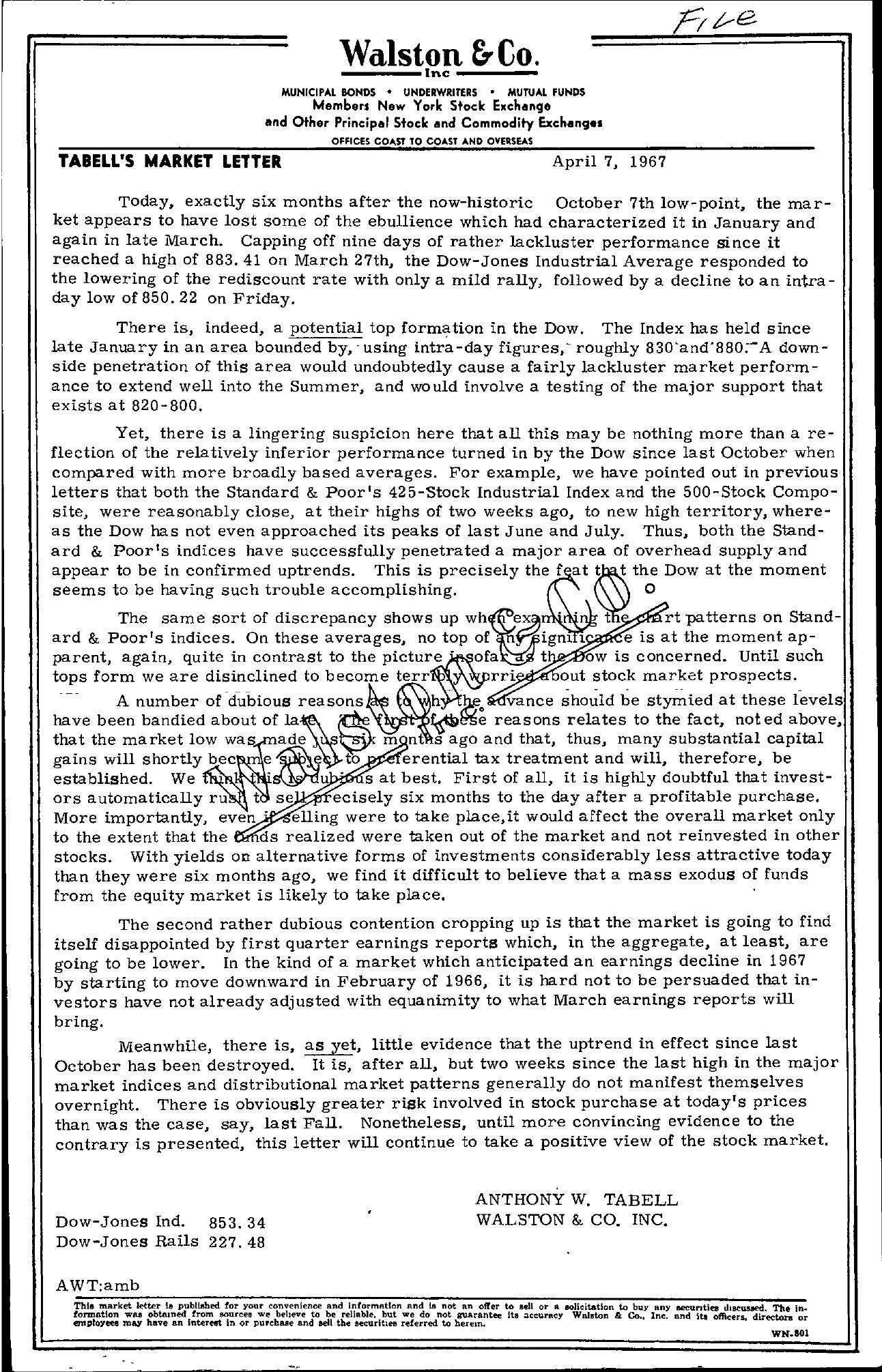 Tabell's Market Letter - April 07, 1967