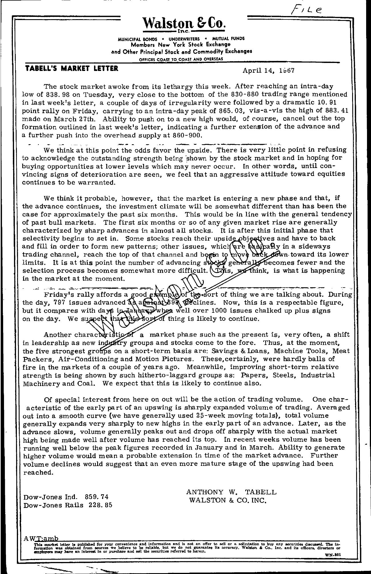 Tabell's Market Letter - April 14, 1967