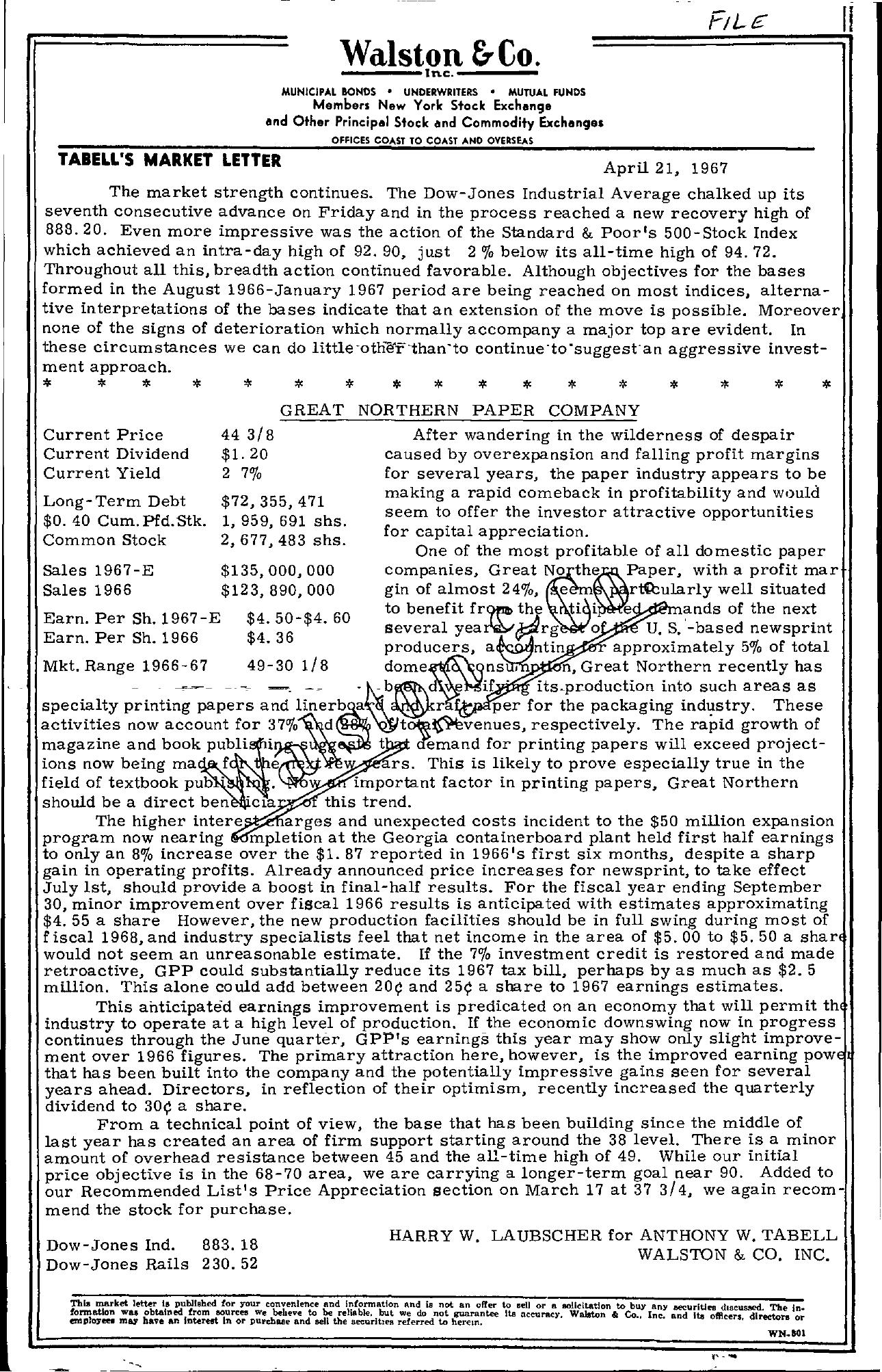 Tabell's Market Letter - April 21, 1967