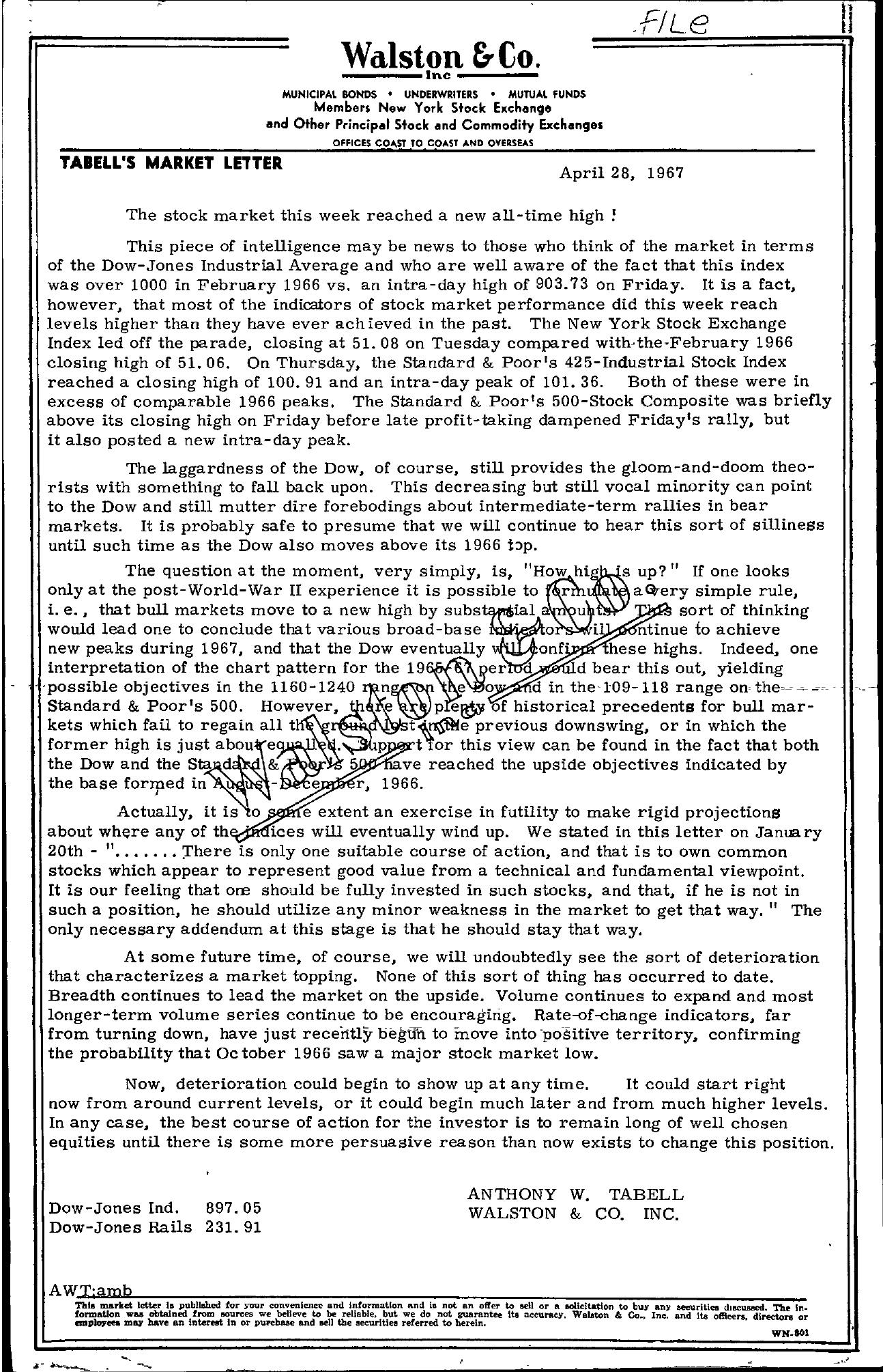 Tabell's Market Letter - April 28, 1967