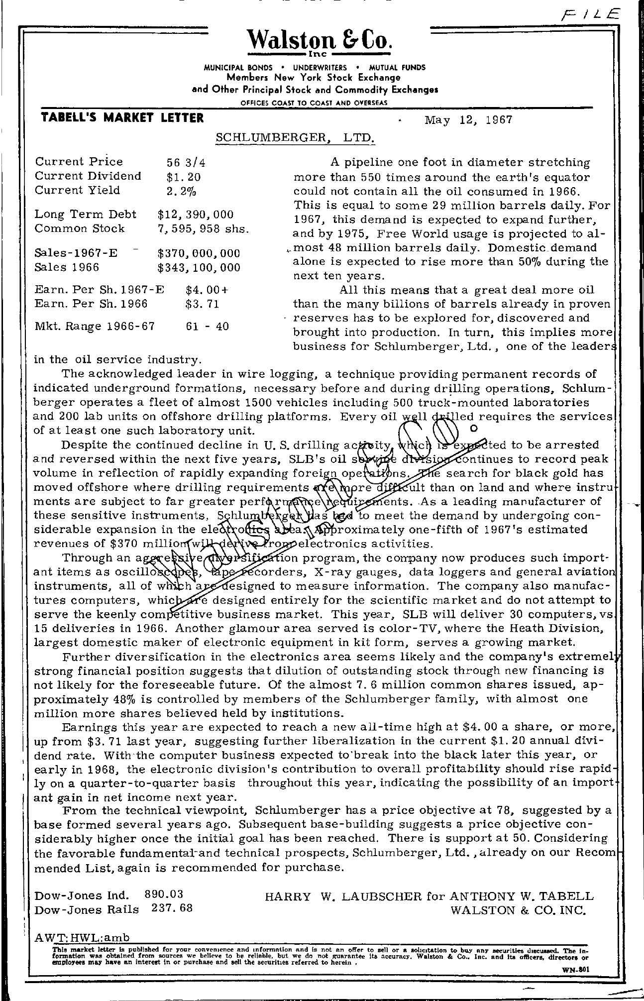 Tabell's Market Letter - May 12, 1967