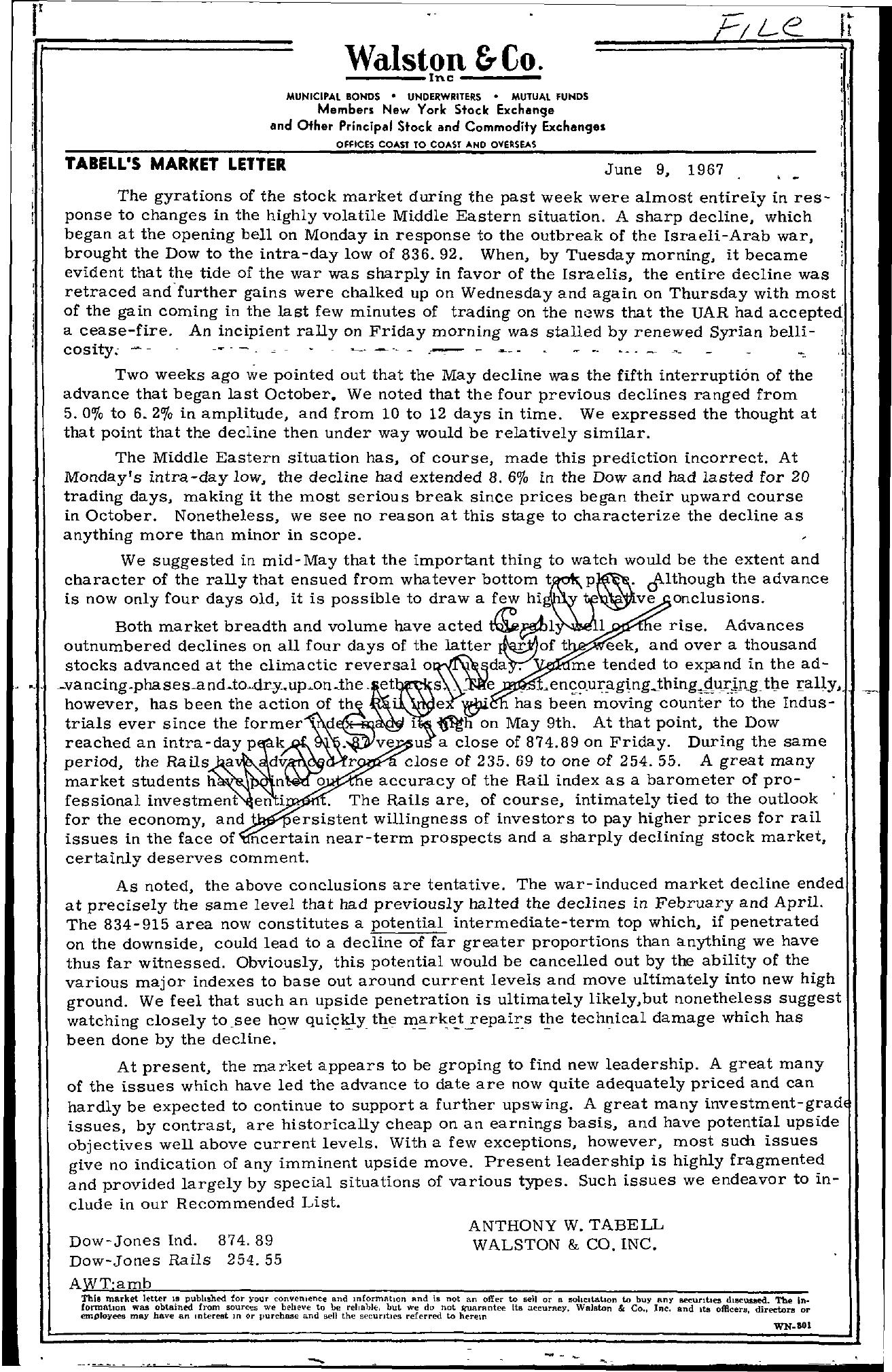 Tabell's Market Letter - June 09, 1967