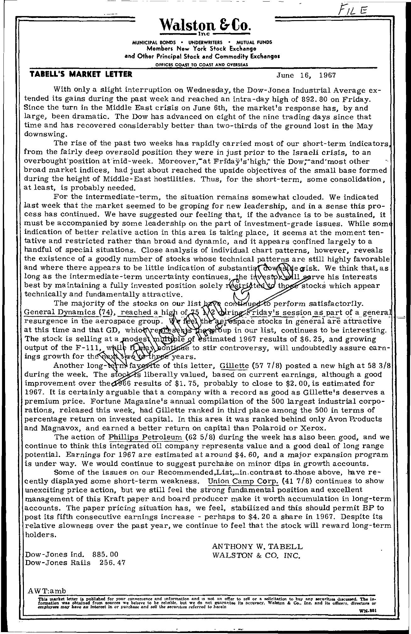 Tabell's Market Letter - June 16, 1967