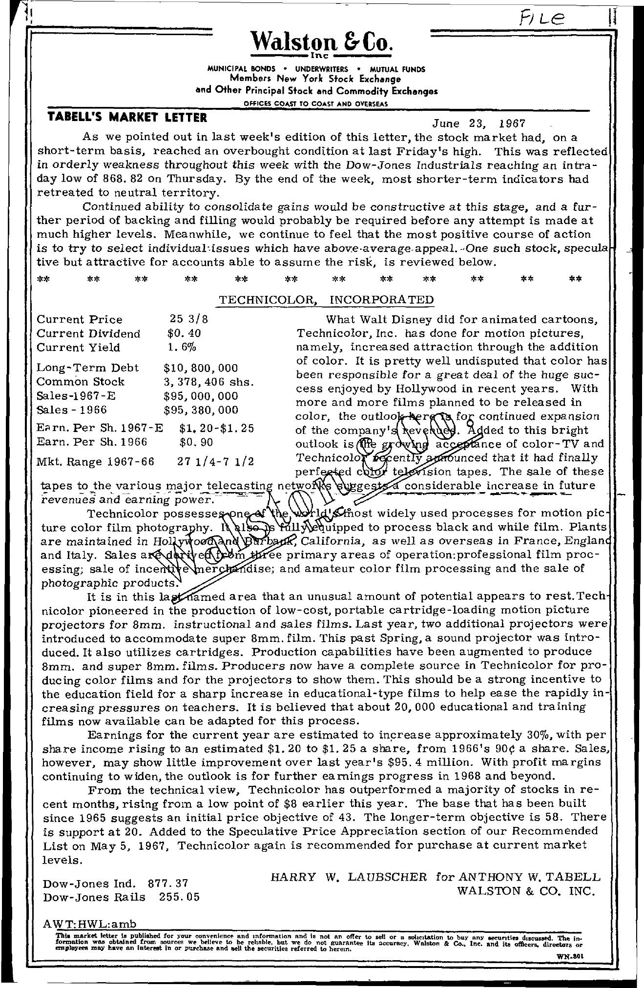 Tabell's Market Letter - June 23, 1967