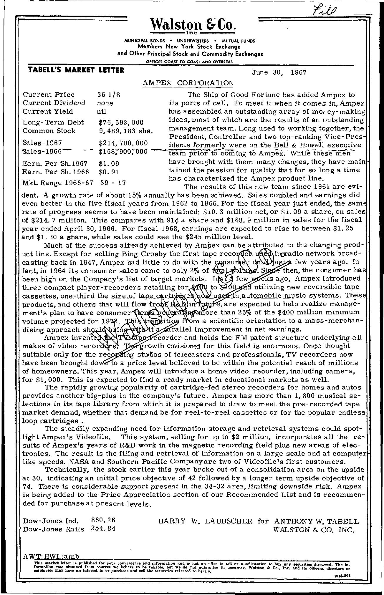 Tabell's Market Letter - June 30, 1967