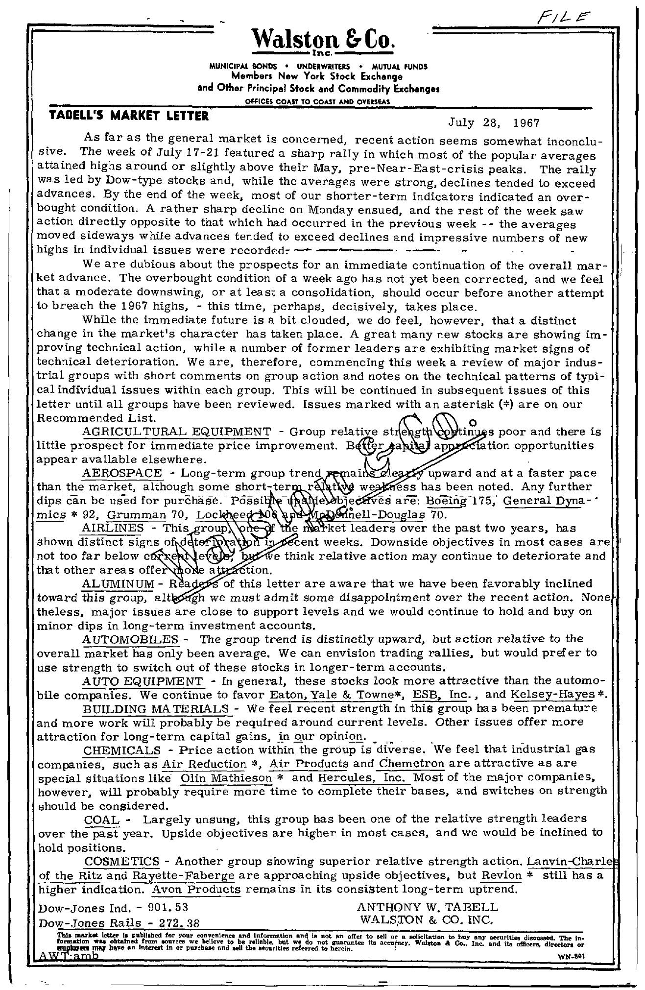 Tabell's Market Letter - July 28, 1967