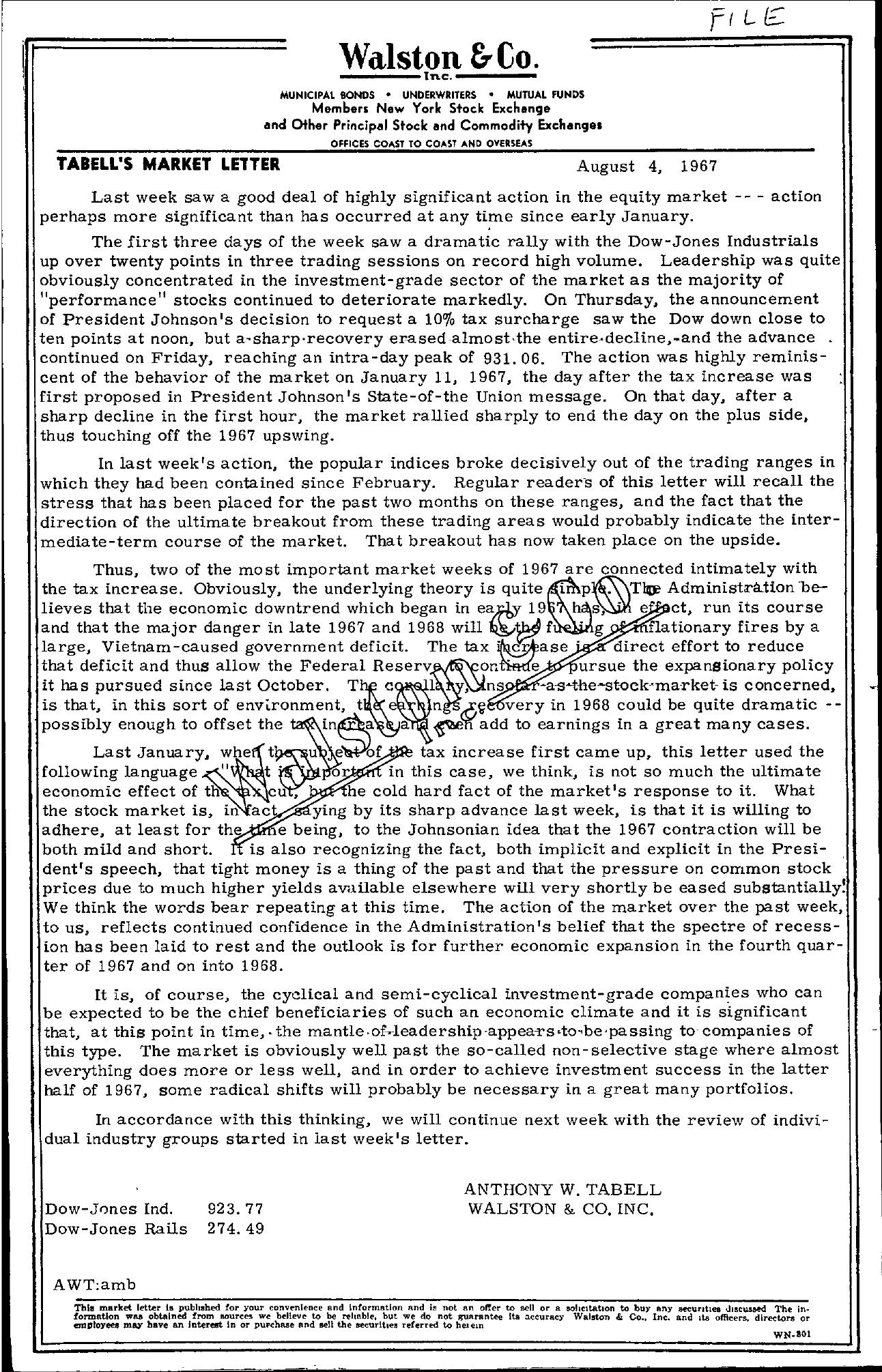 Tabell's Market Letter - August 04, 1967
