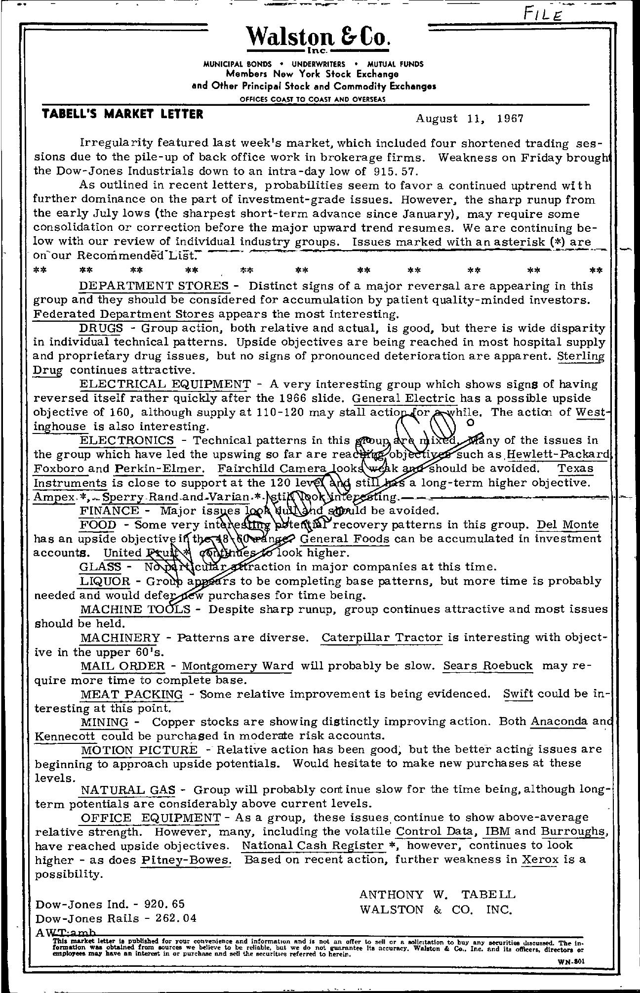 Tabell's Market Letter - August 11, 1967