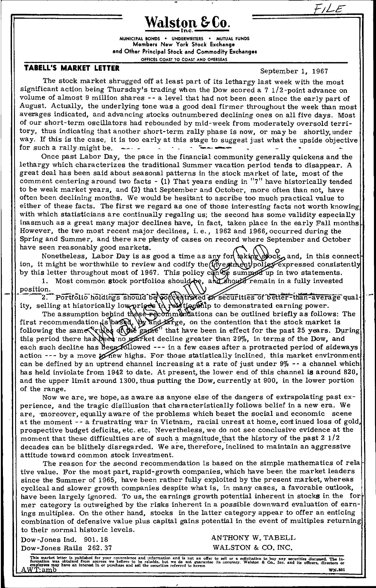 Tabell's Market Letter - September 01, 1967