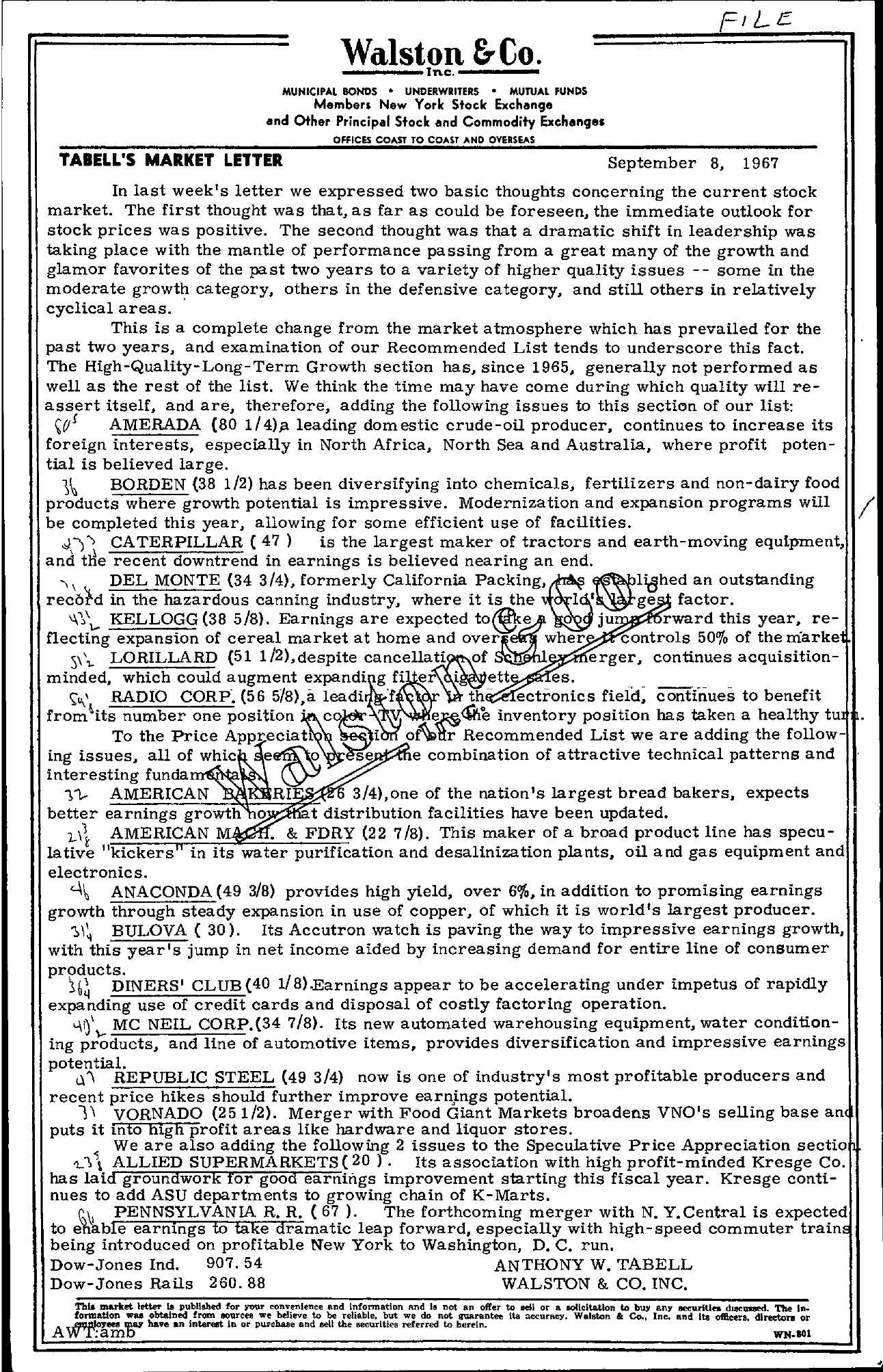 Tabell's Market Letter - September 08, 1967