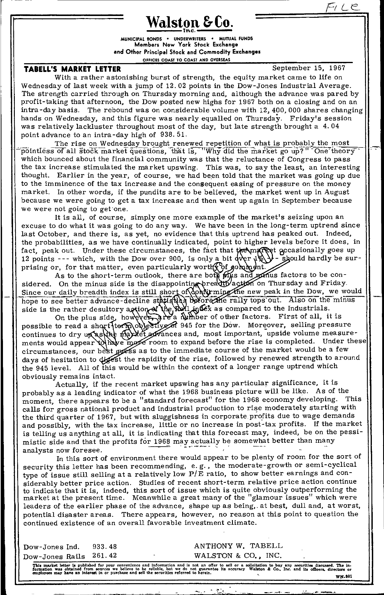 Tabell's Market Letter - September 15, 1967