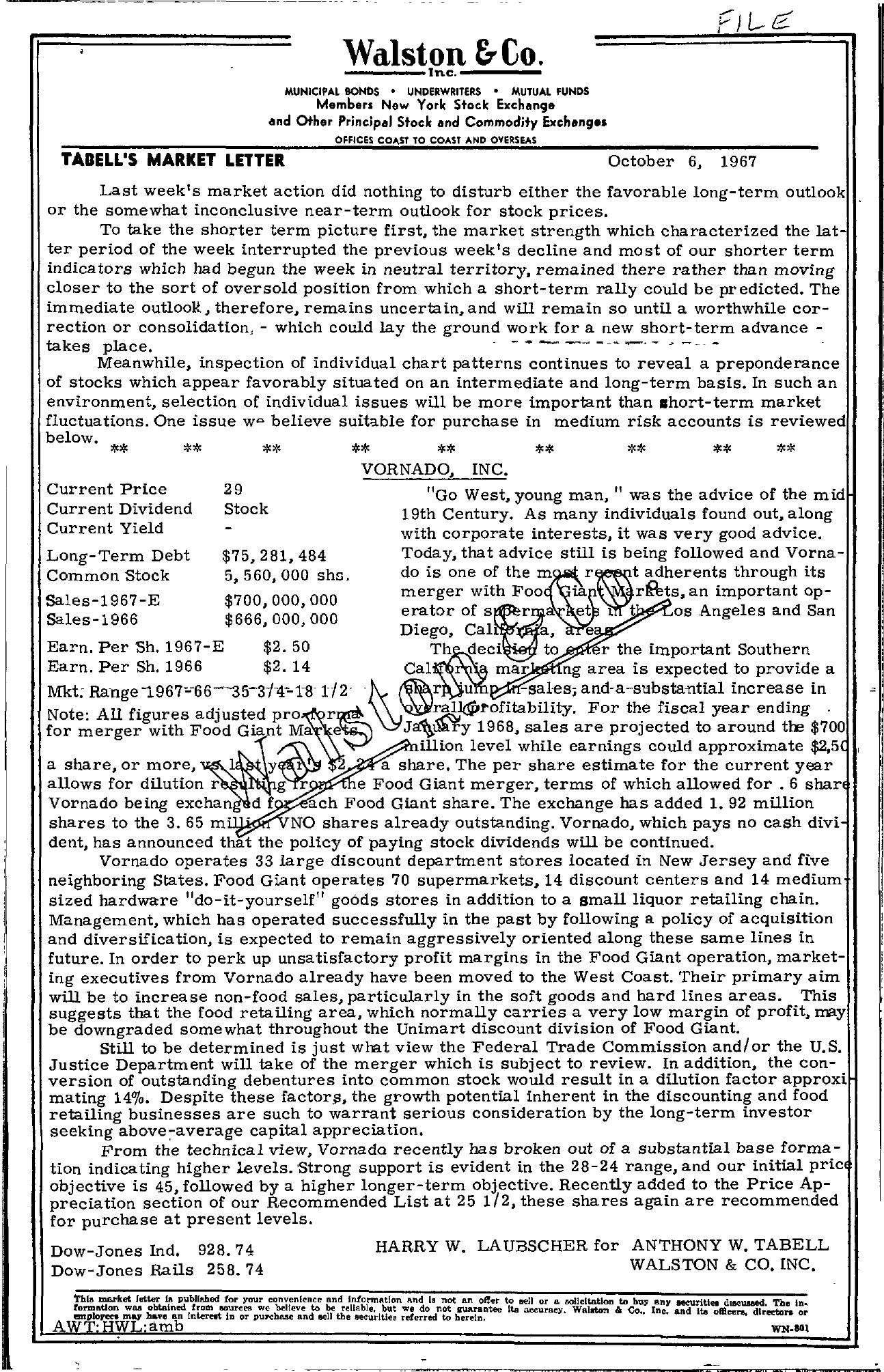 Tabell's Market Letter - October 06, 1967