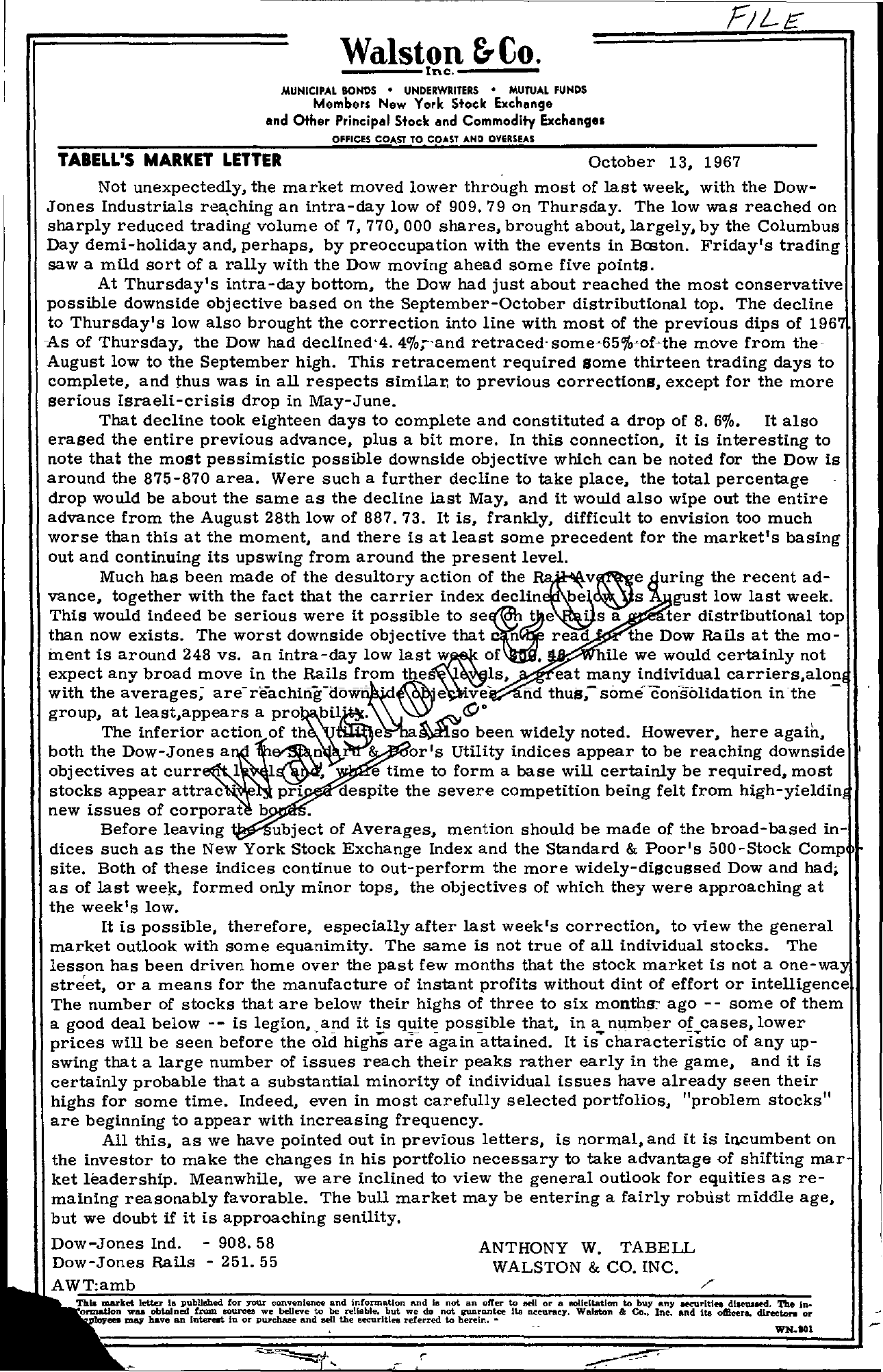 Tabell's Market Letter - October 13, 1967