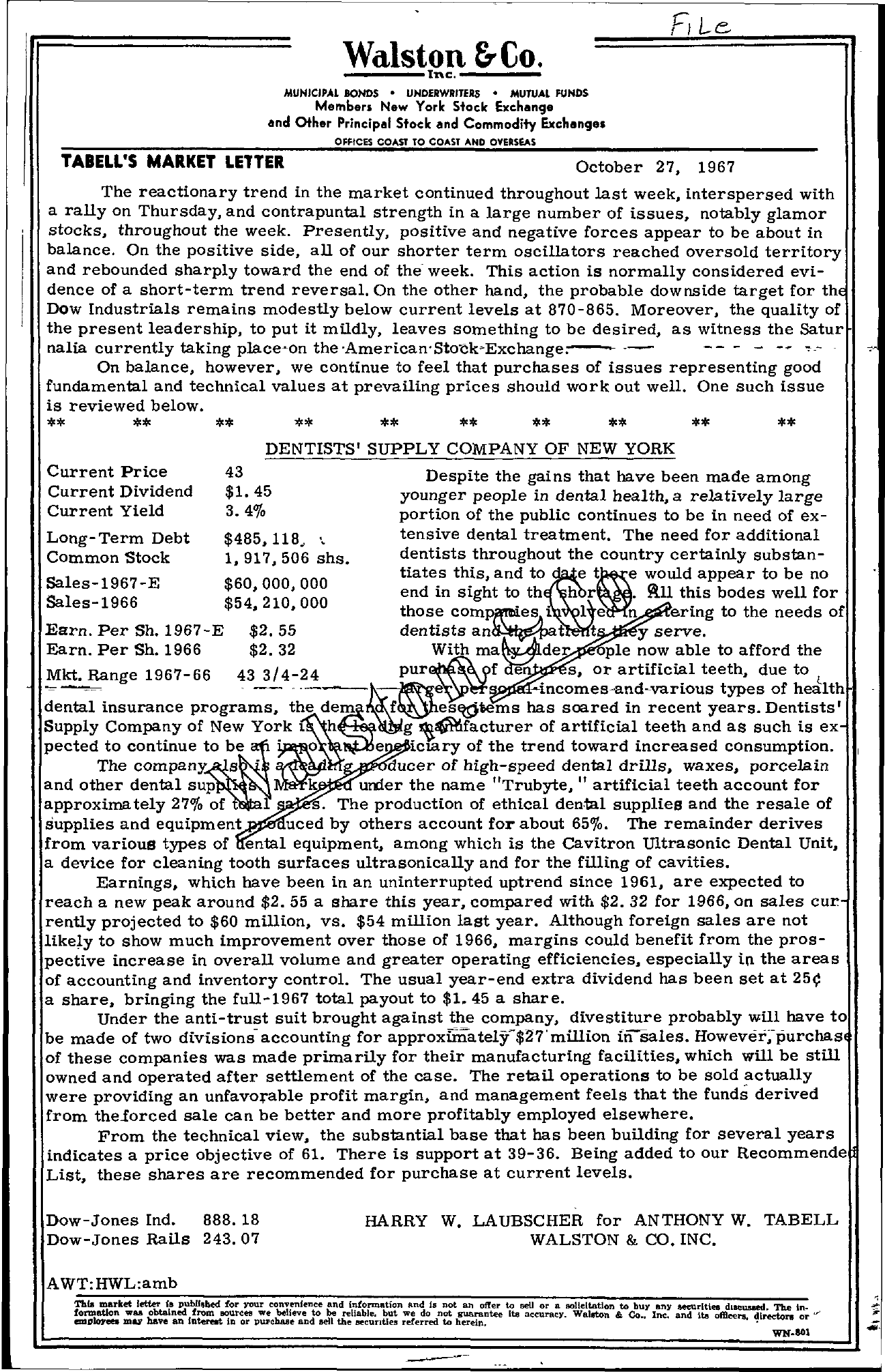 Tabell's Market Letter - October 27, 1967