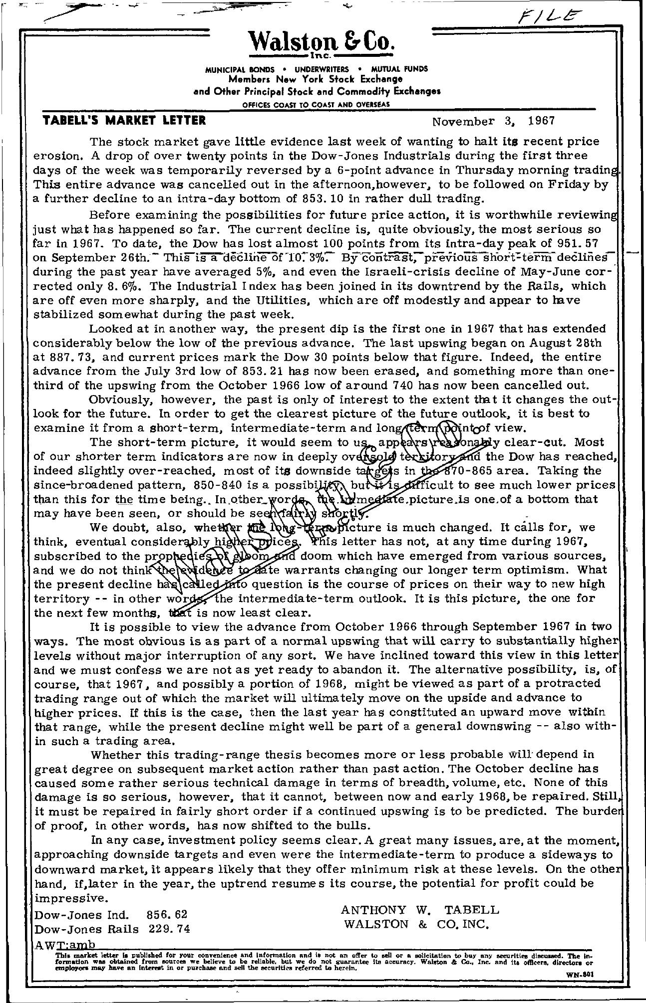 Tabell's Market Letter - November 03, 1967