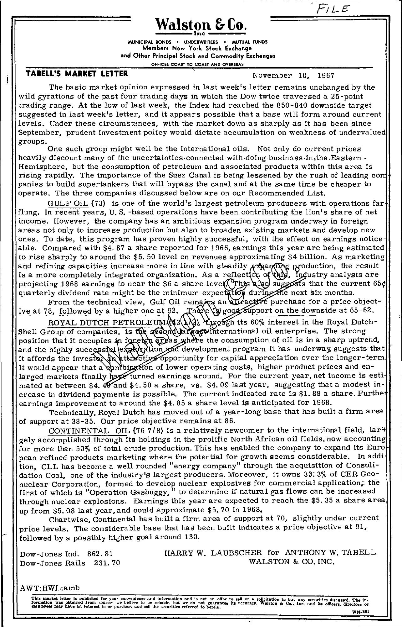 Tabell's Market Letter - November 10, 1967