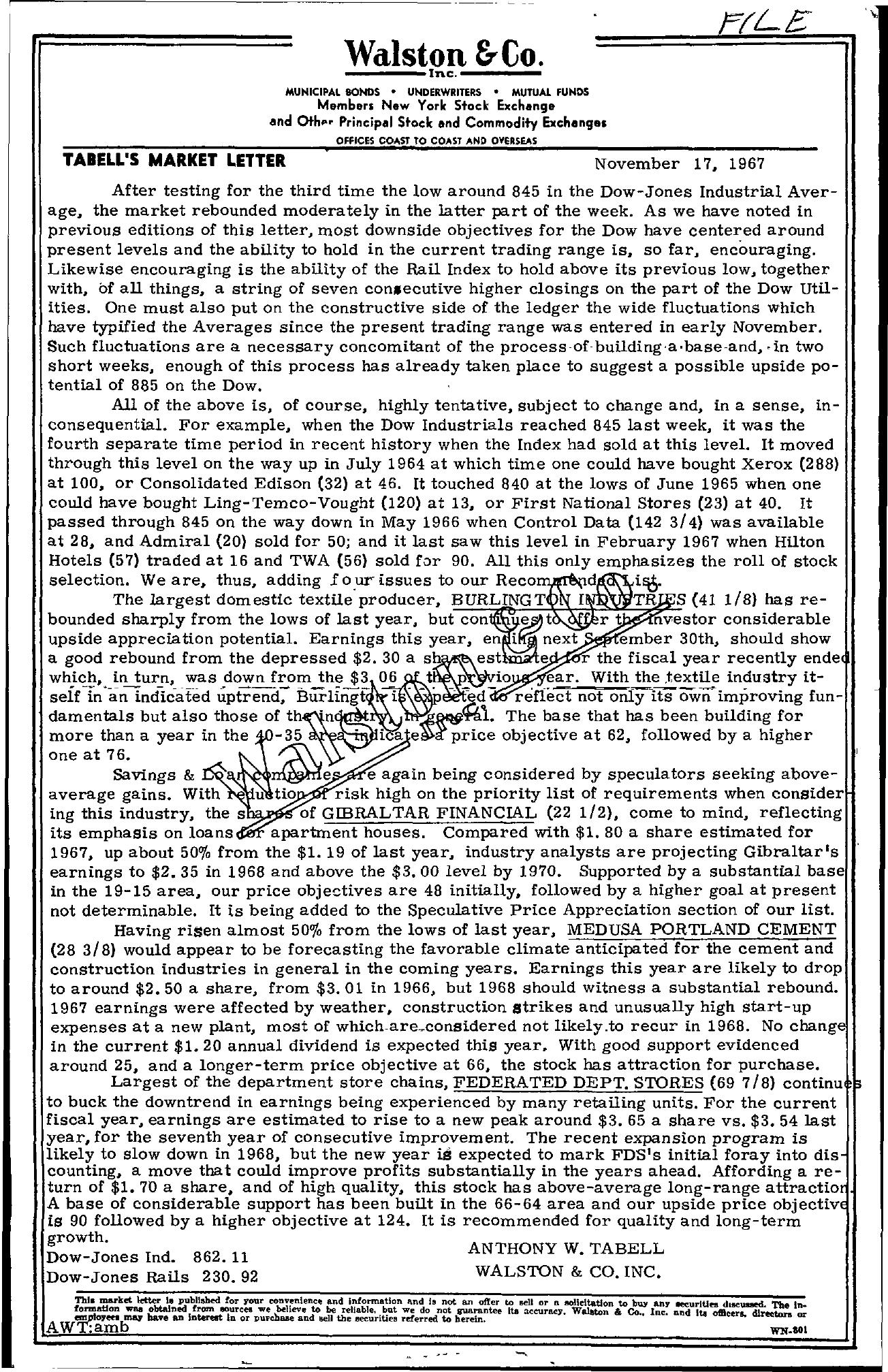 Tabell's Market Letter - November 17, 1967