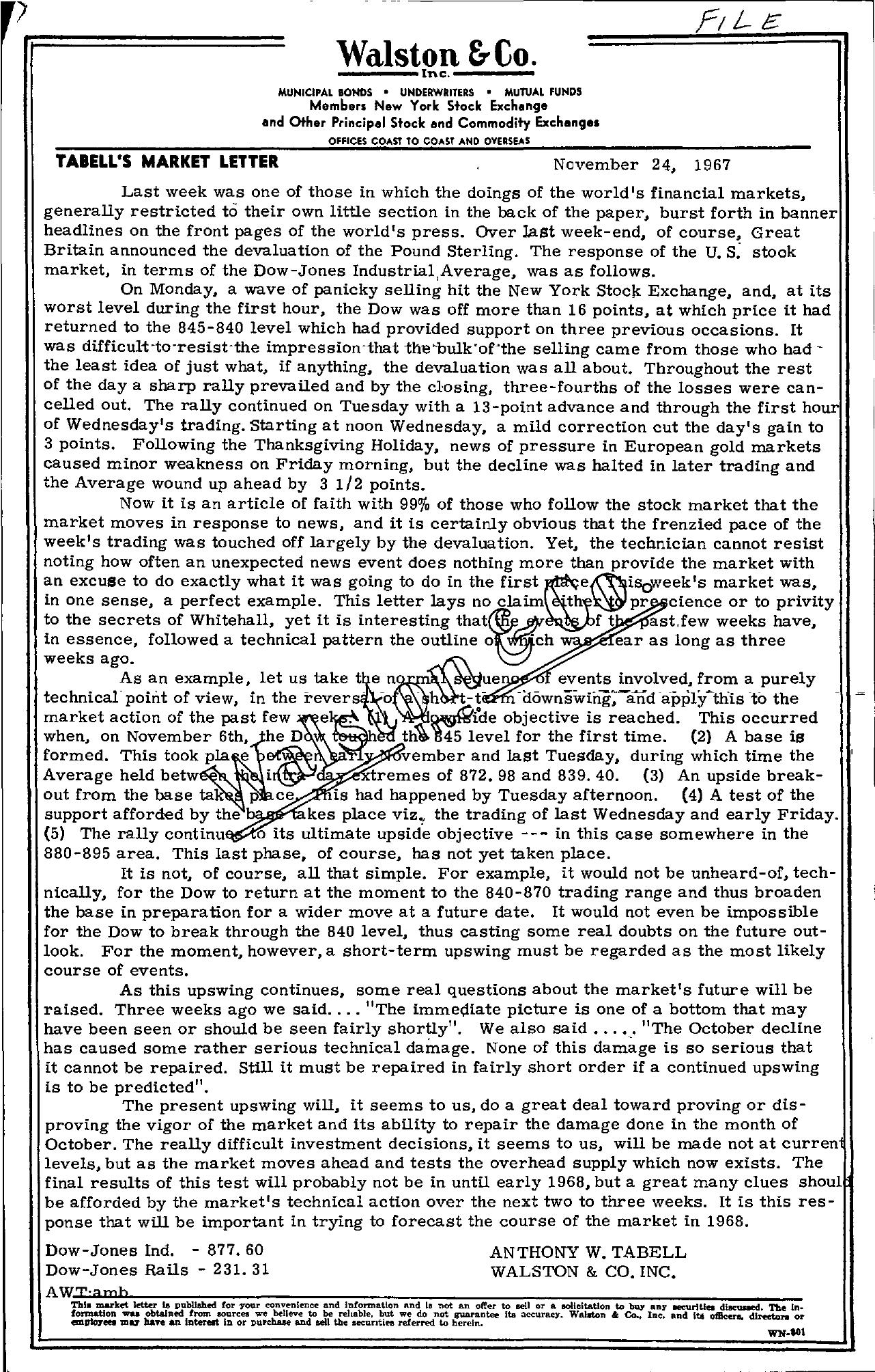 Tabell's Market Letter - November 24, 1967