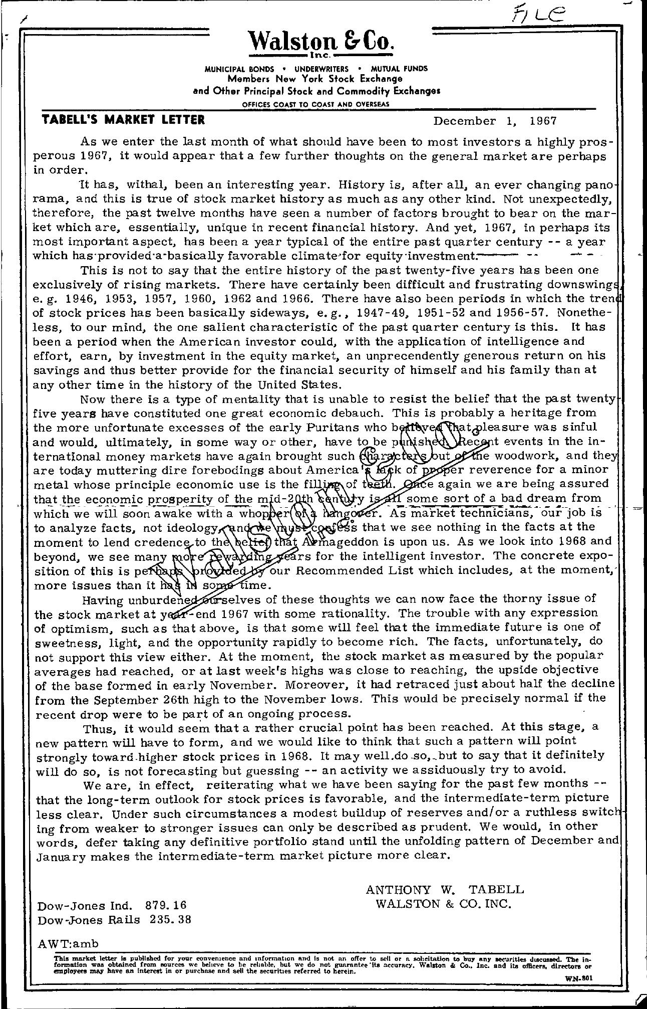 Tabell's Market Letter - December 01, 1967