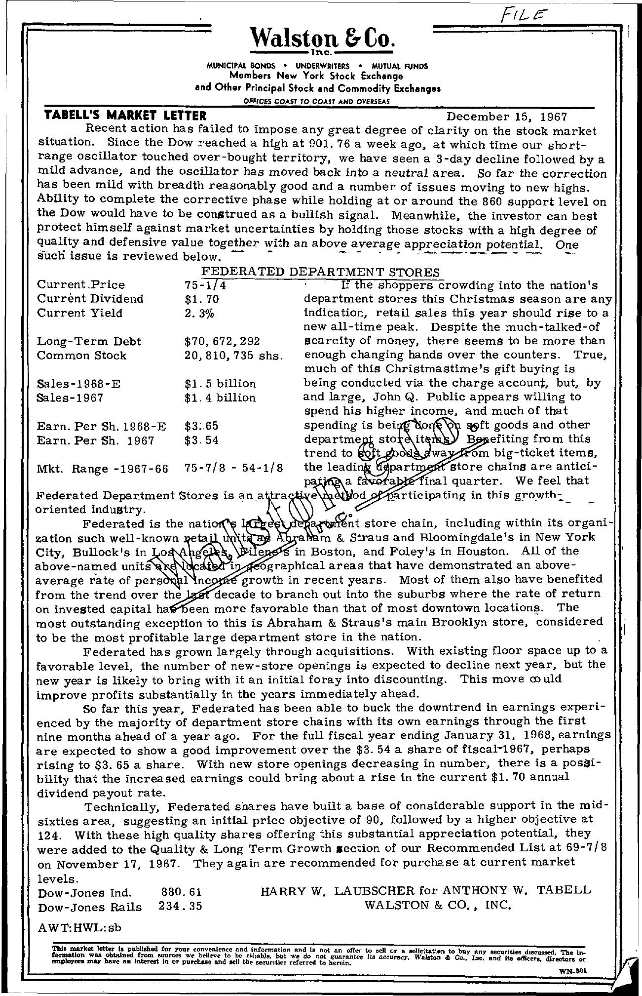 Tabell's Market Letter - December 15, 1967