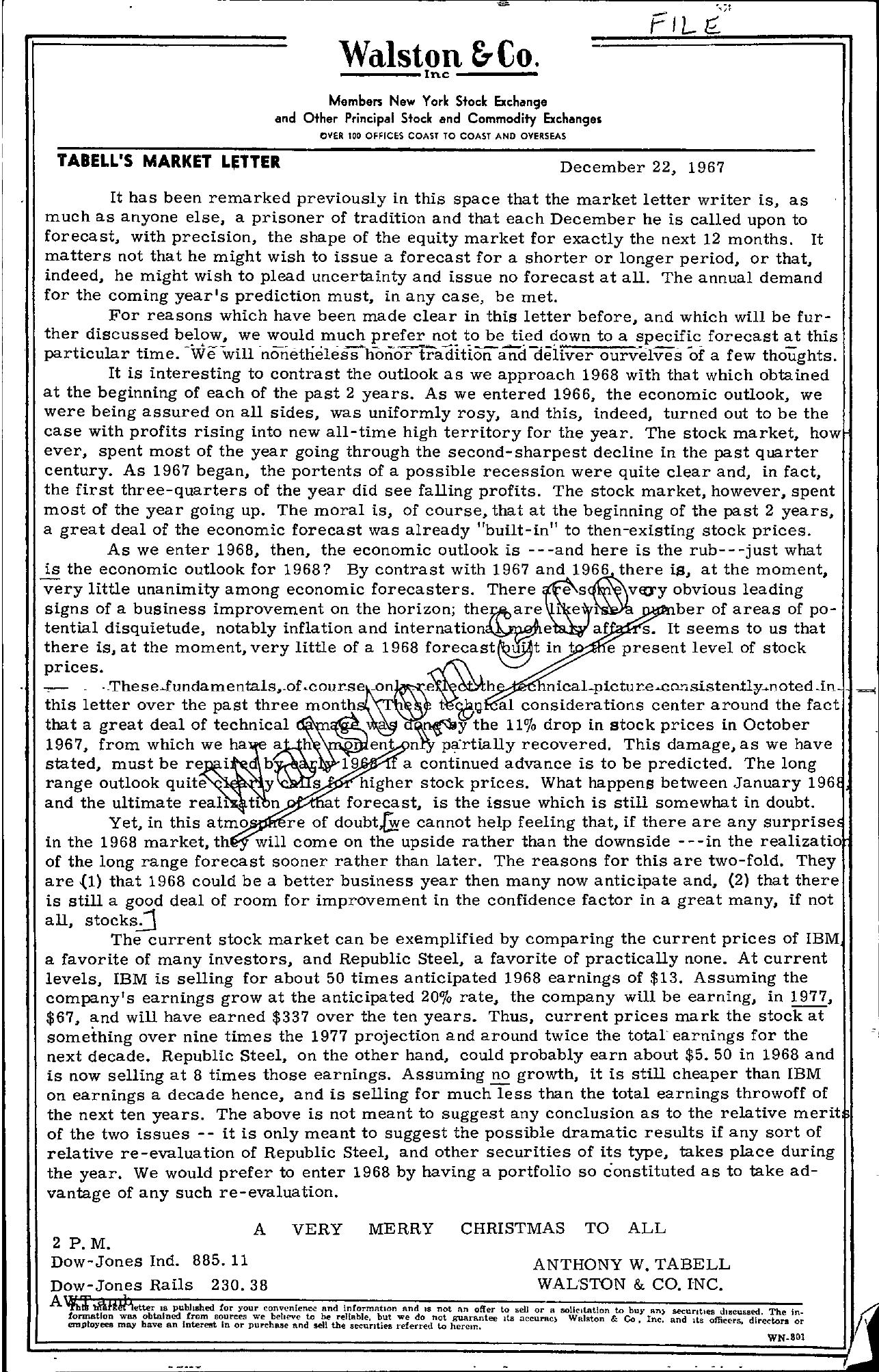 Tabell's Market Letter - December 22, 1967