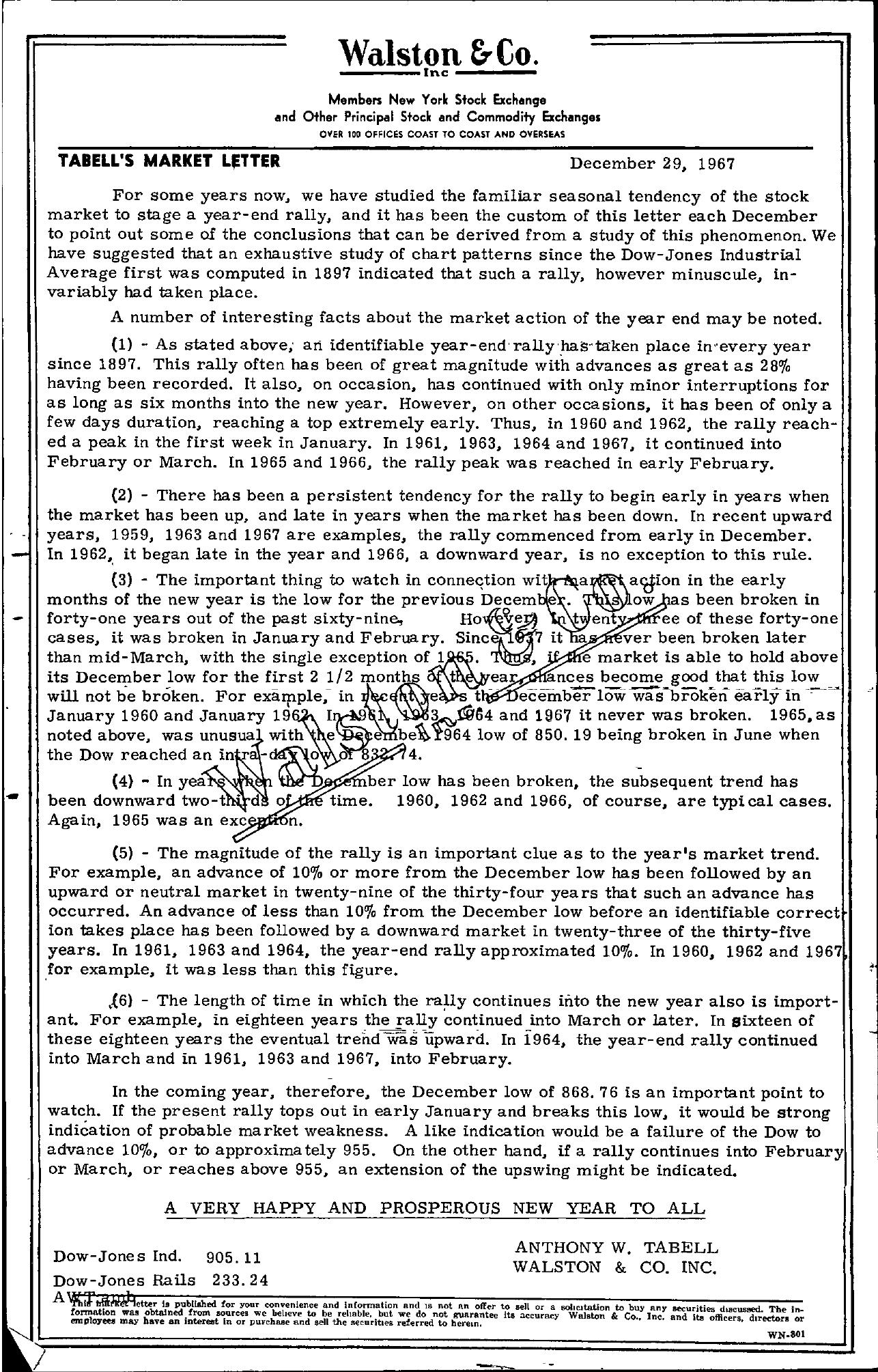 Tabell's Market Letter - December 29, 1967