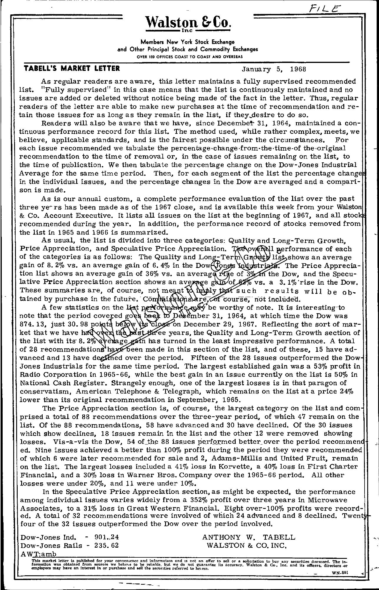 Tabell's Market Letter - January 05, 1968