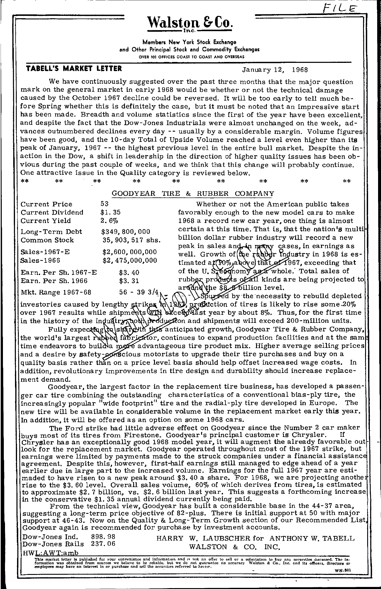 Tabell's Market Letter - January 12, 1968