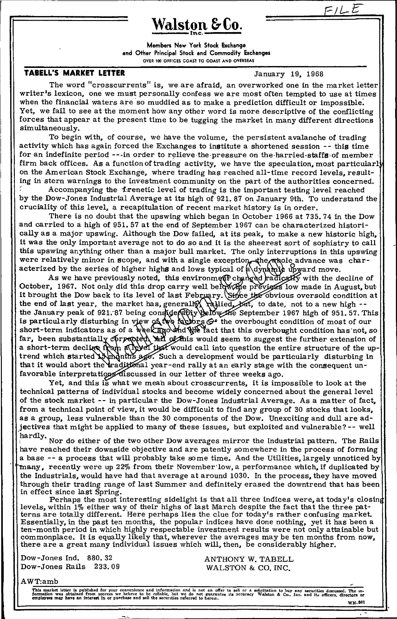 Tabell's Market Letter - January 19, 1968