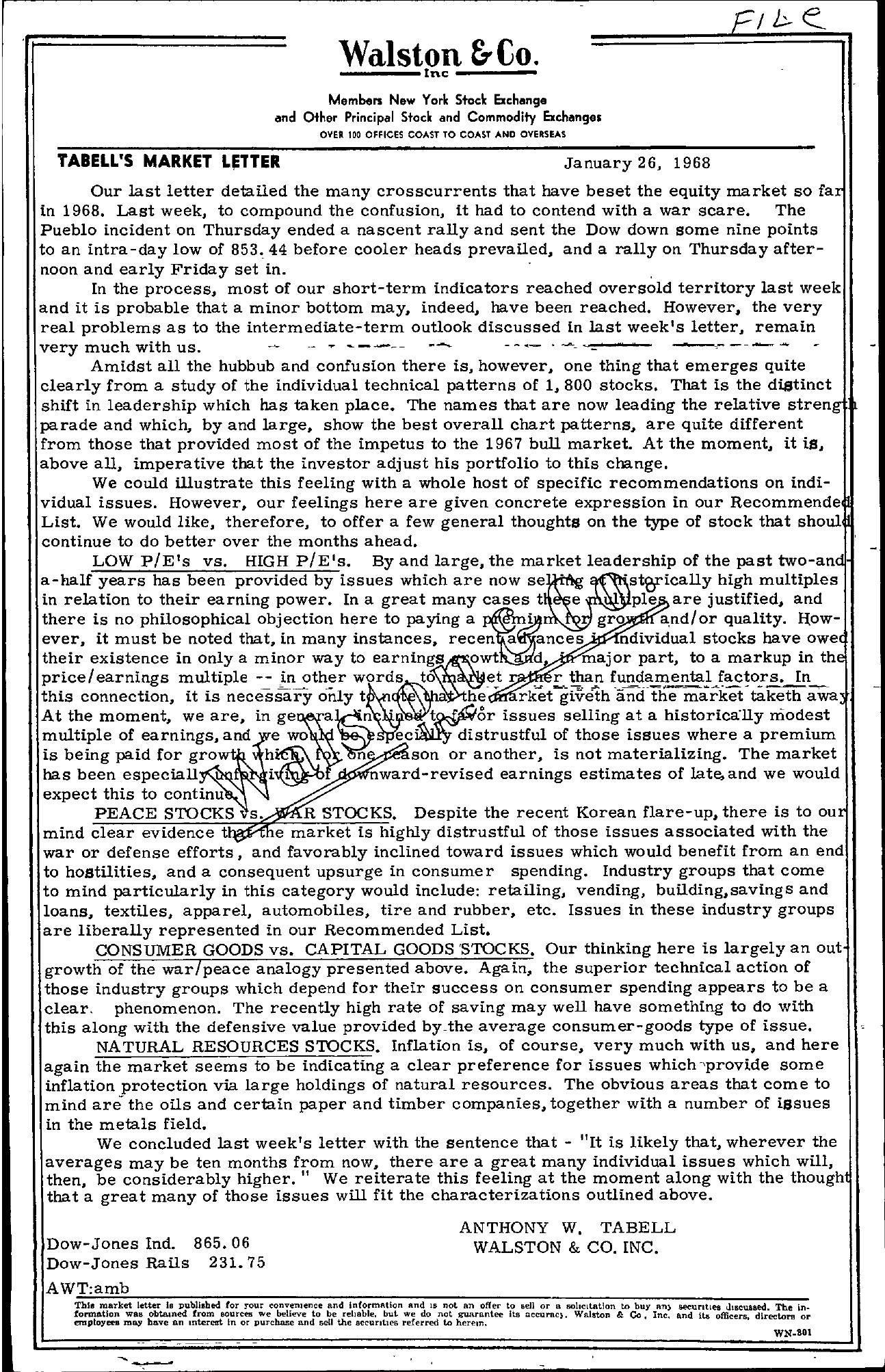 Tabell's Market Letter - January 26, 1968