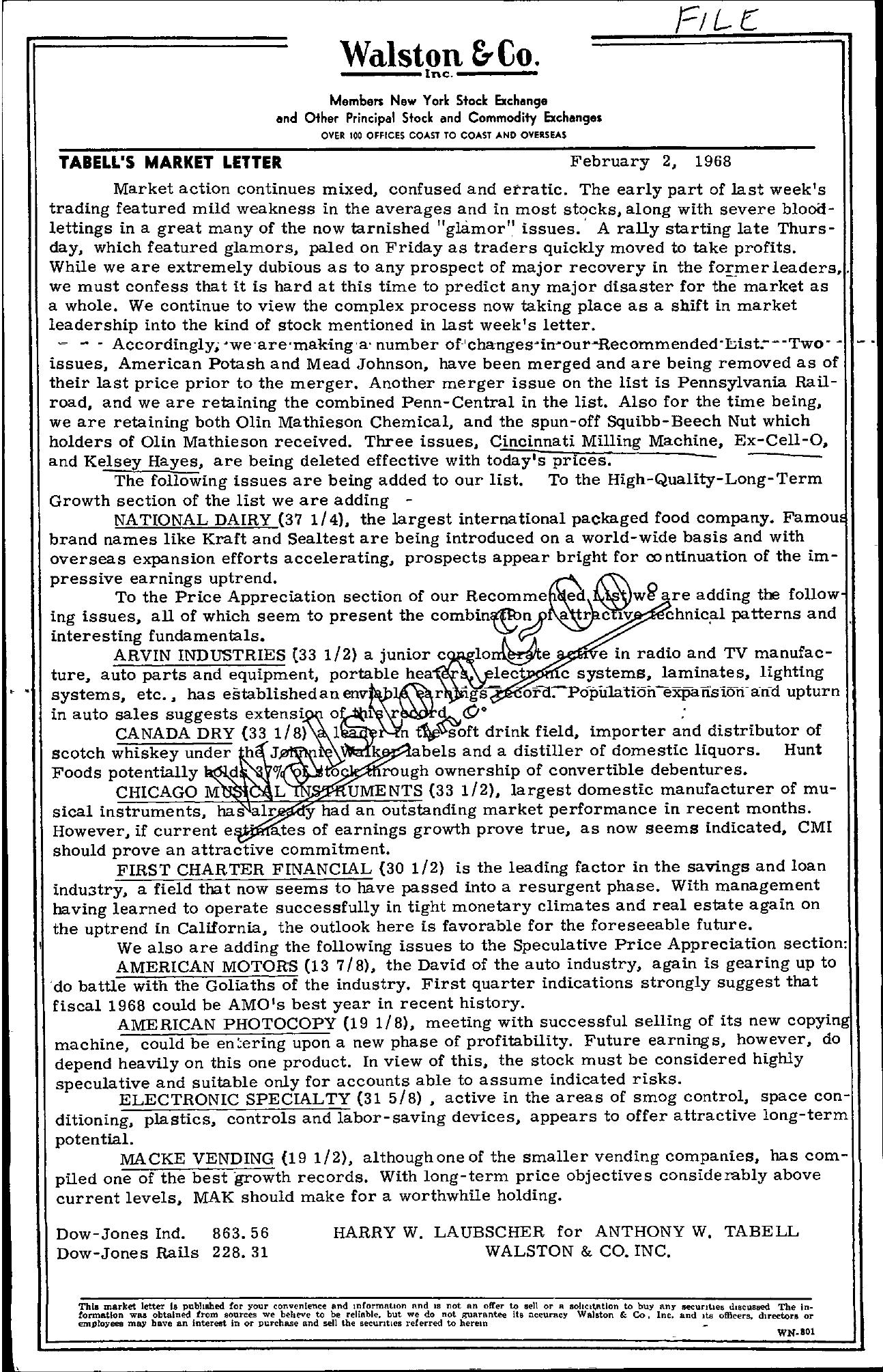 Tabell's Market Letter - February 02, 1968