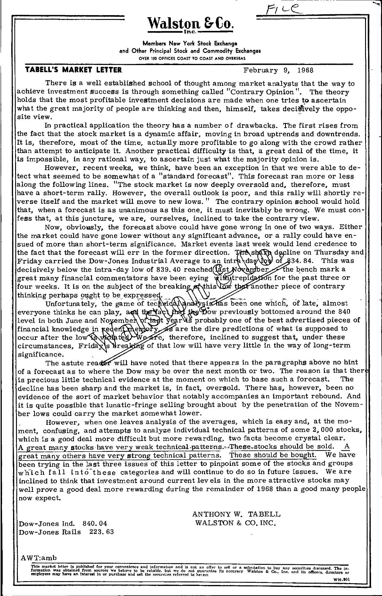 Tabell's Market Letter - February 09, 1968