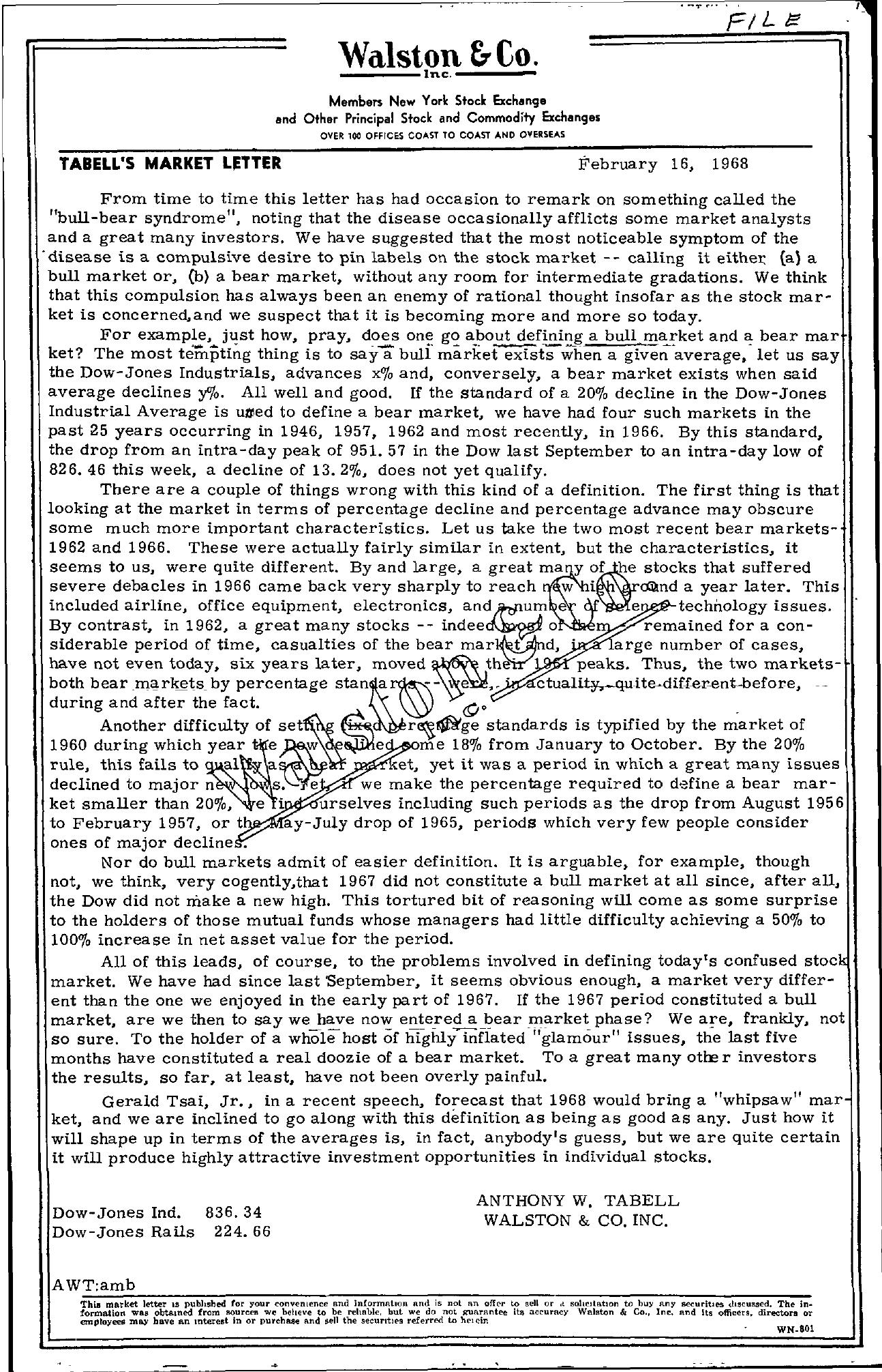 Tabell's Market Letter - February 16, 1968