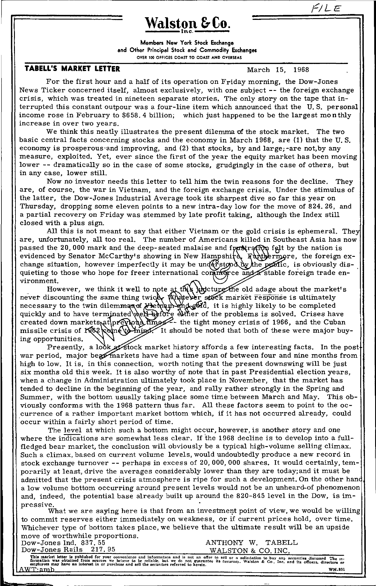 Tabell's Market Letter - March 15, 1968