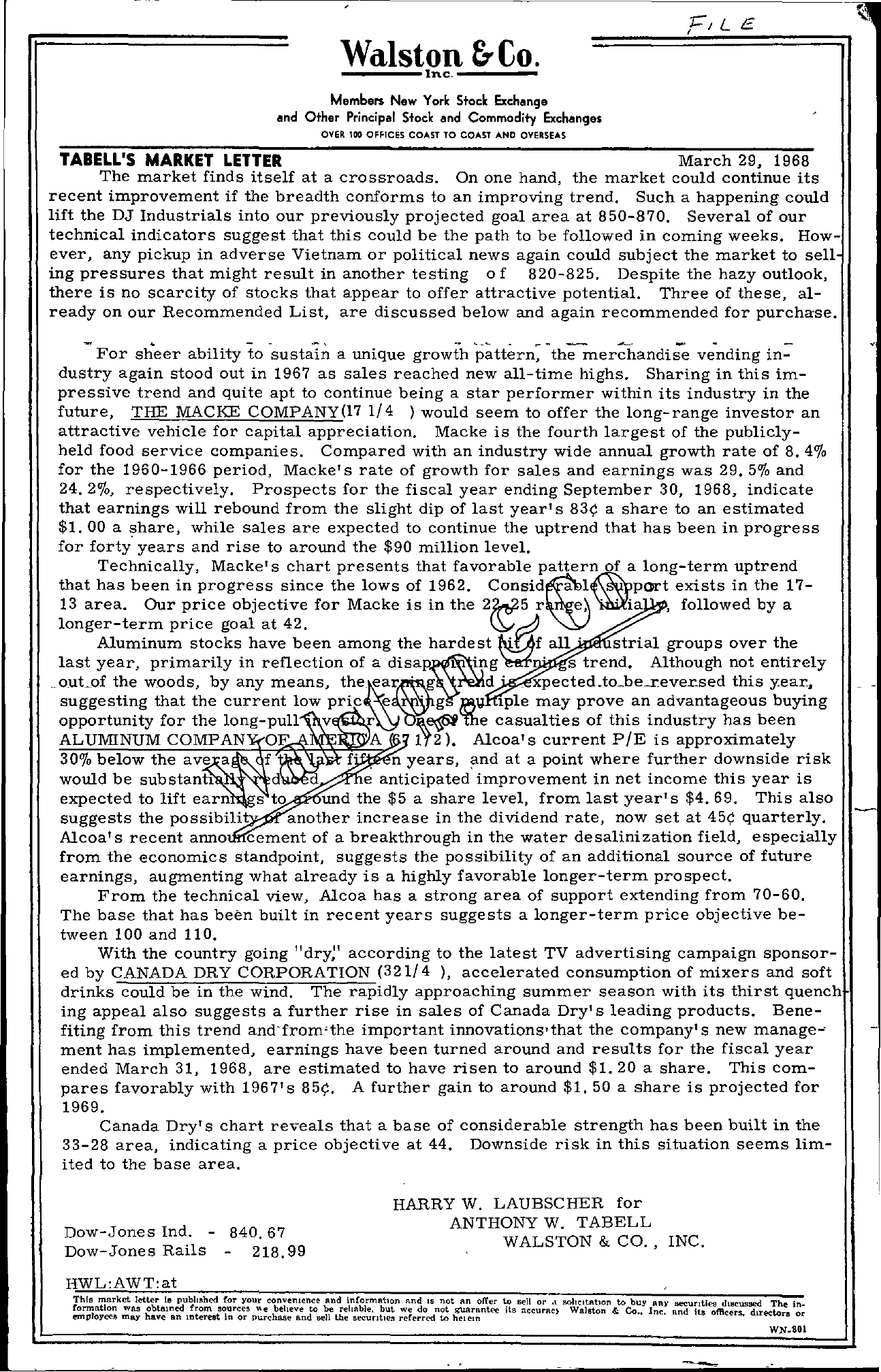 Tabell's Market Letter - March 29, 1968