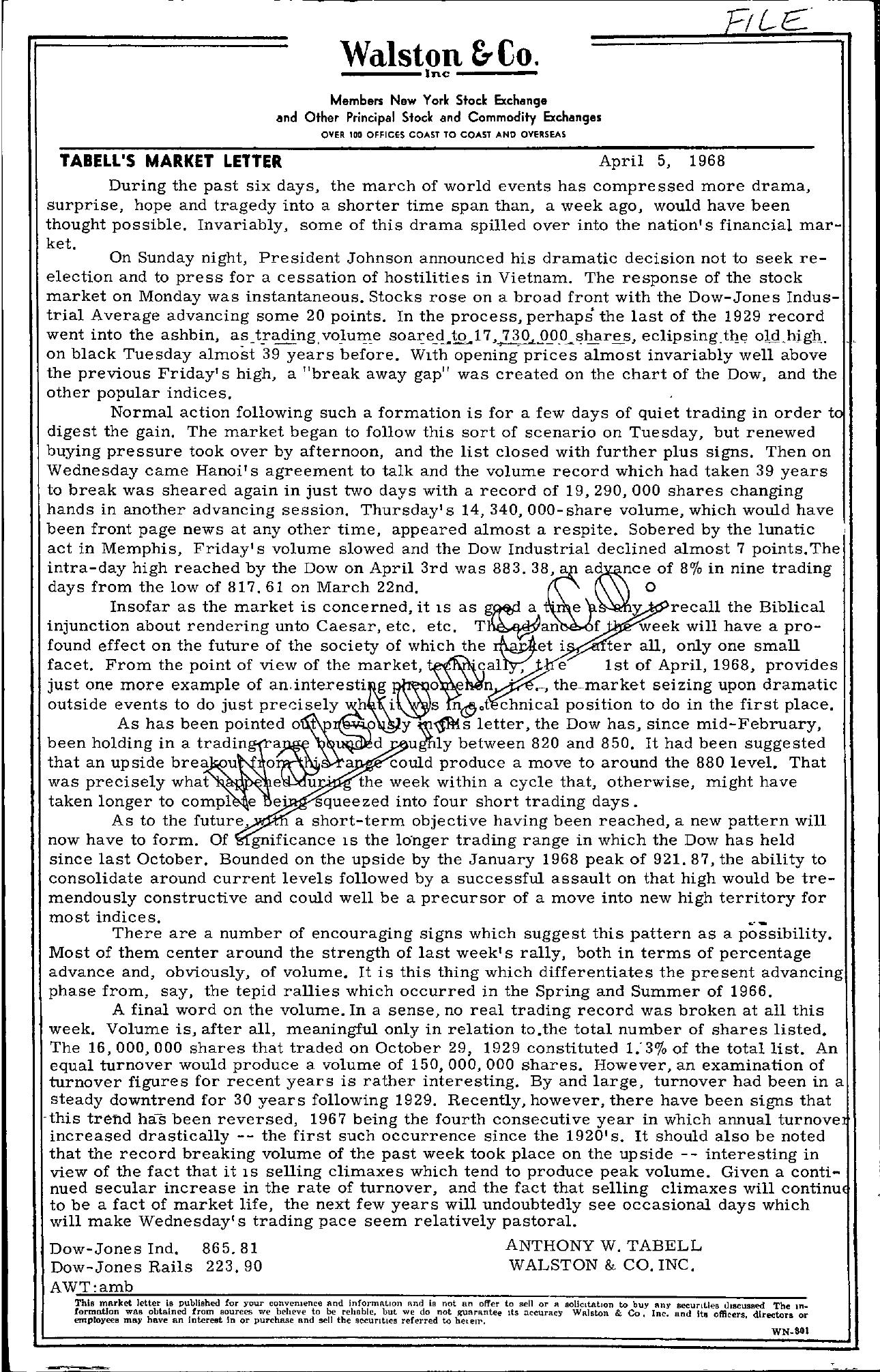 Tabell's Market Letter - April 05, 1968