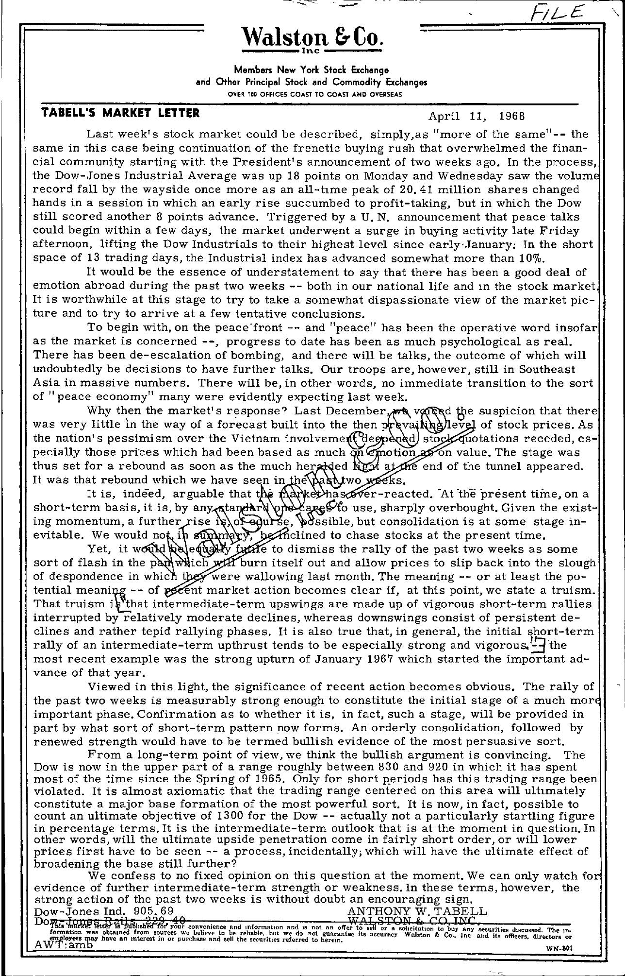 Tabell's Market Letter - April 11, 1968
