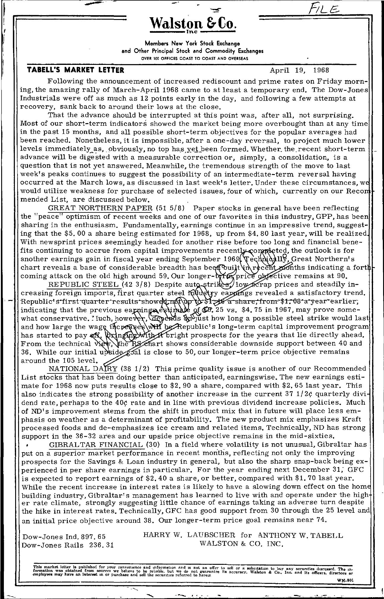 Tabell's Market Letter - April 19, 1968