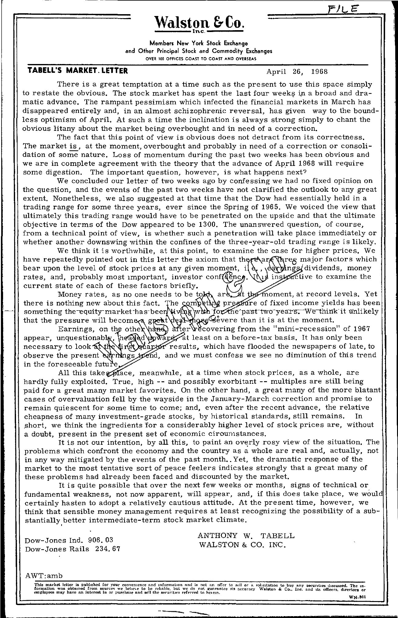 Tabell's Market Letter - April 26, 1968