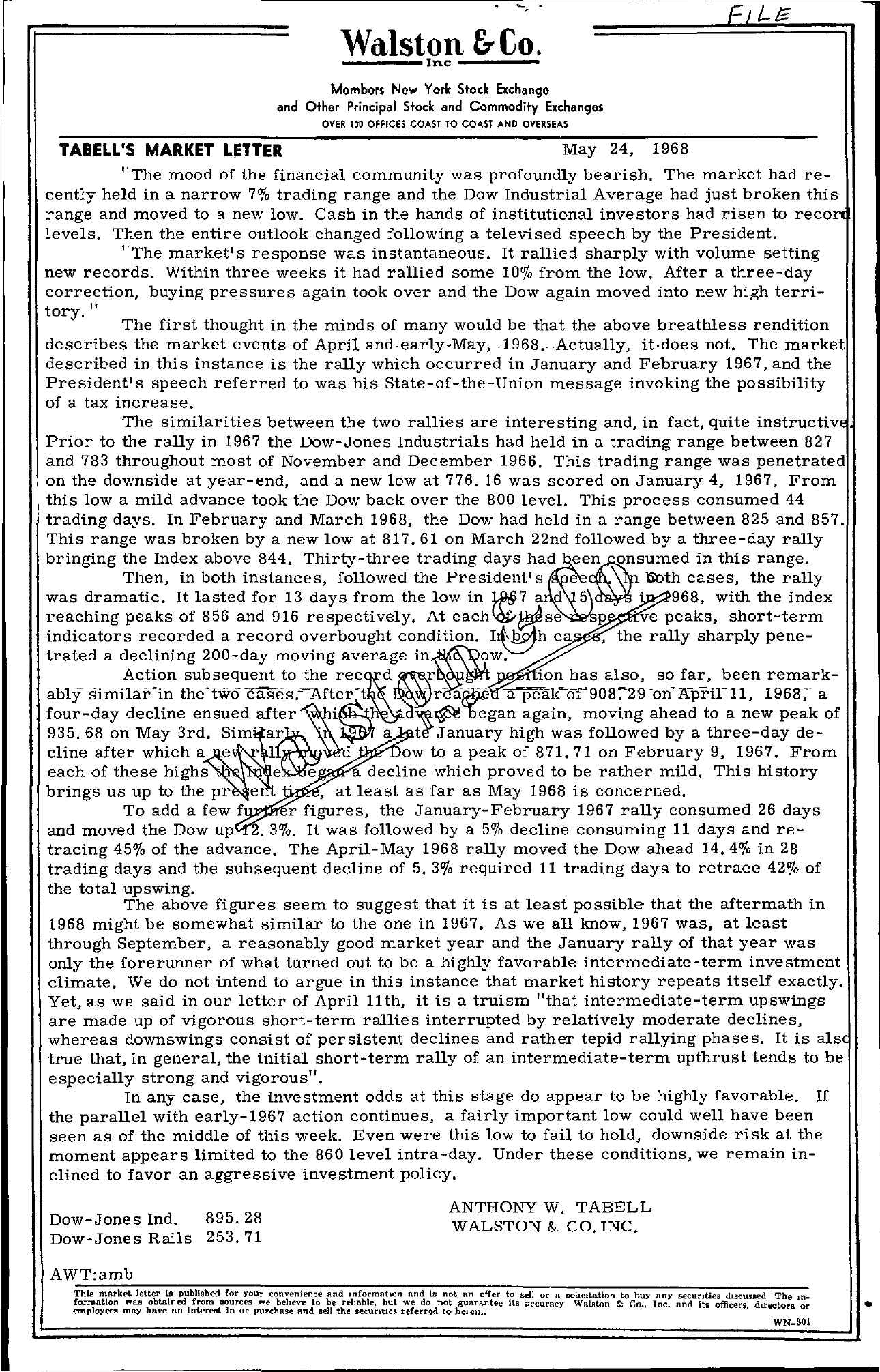 Tabell's Market Letter - May 24, 1968