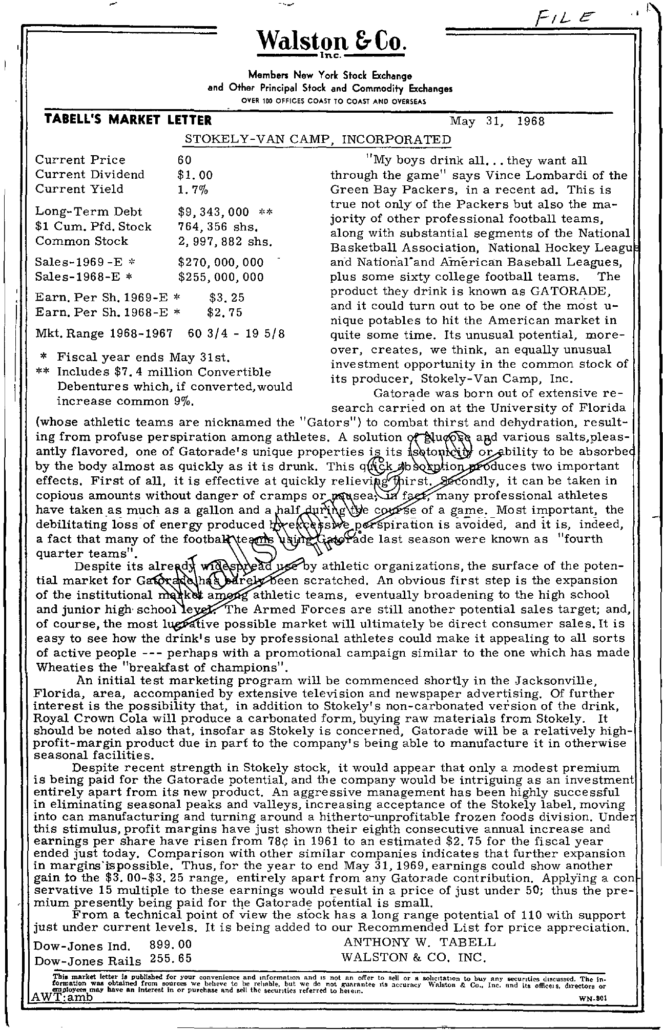 Tabell's Market Letter - May 31, 1968