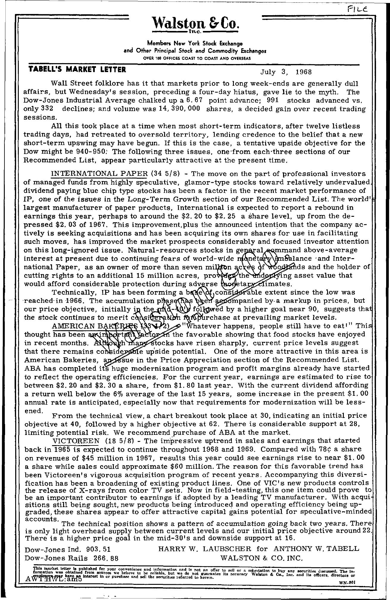 Tabell's Market Letter - July 03, 1968