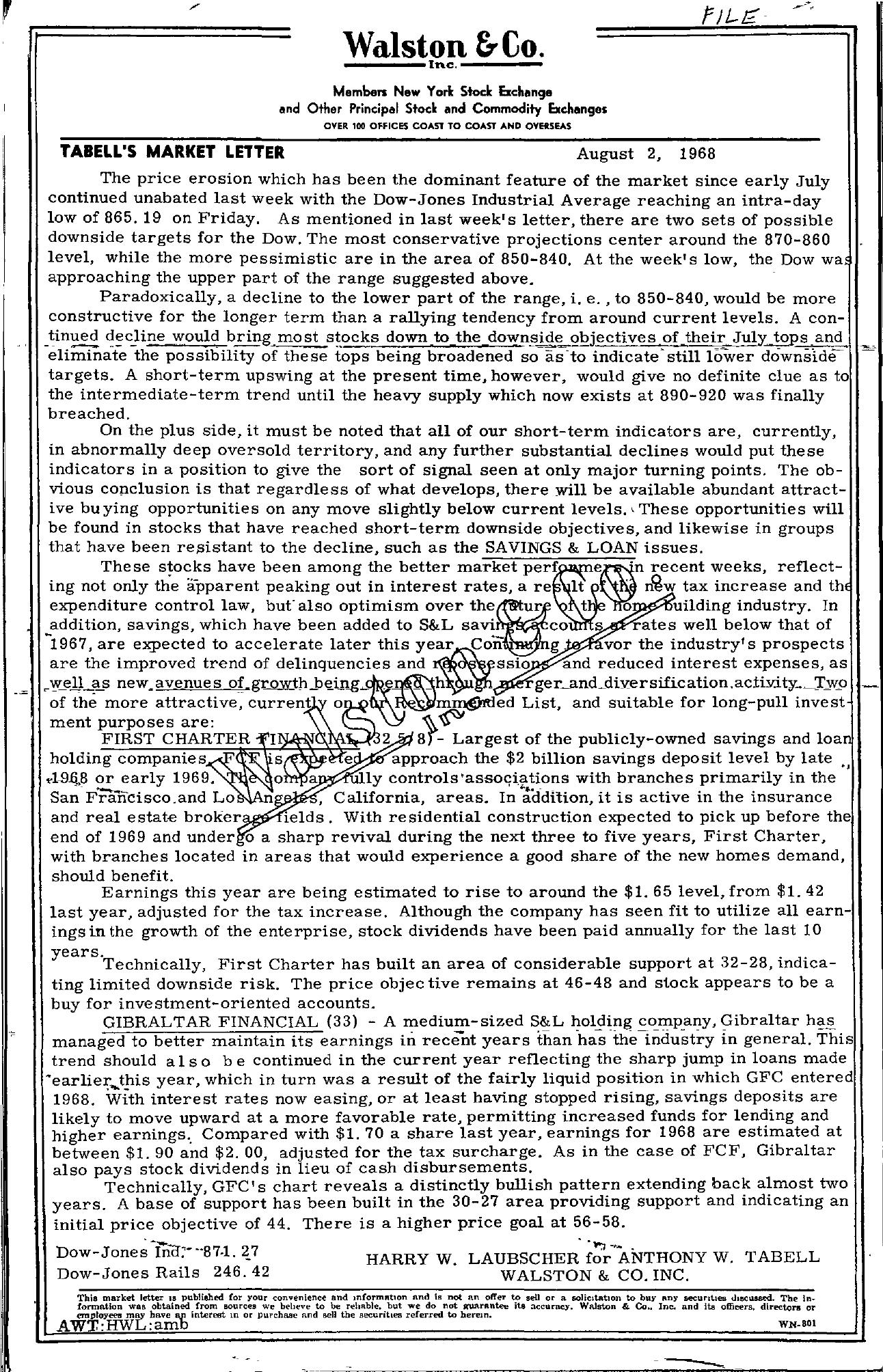 Tabell's Market Letter - August 02, 1968