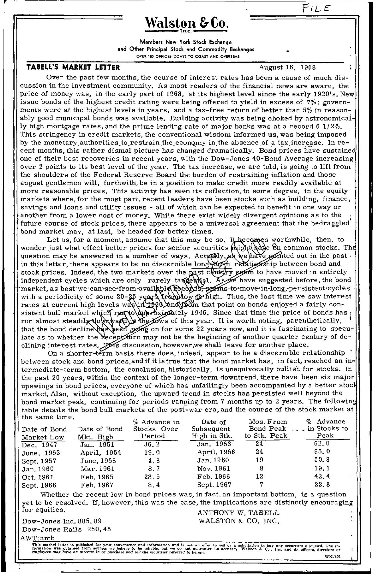 Tabell's Market Letter - August 16, 1968