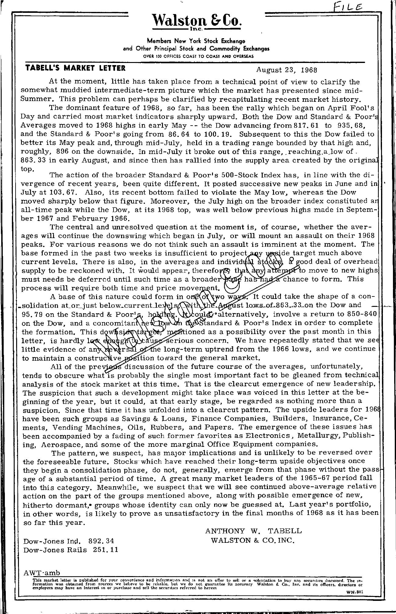Tabell's Market Letter - August 23, 1968