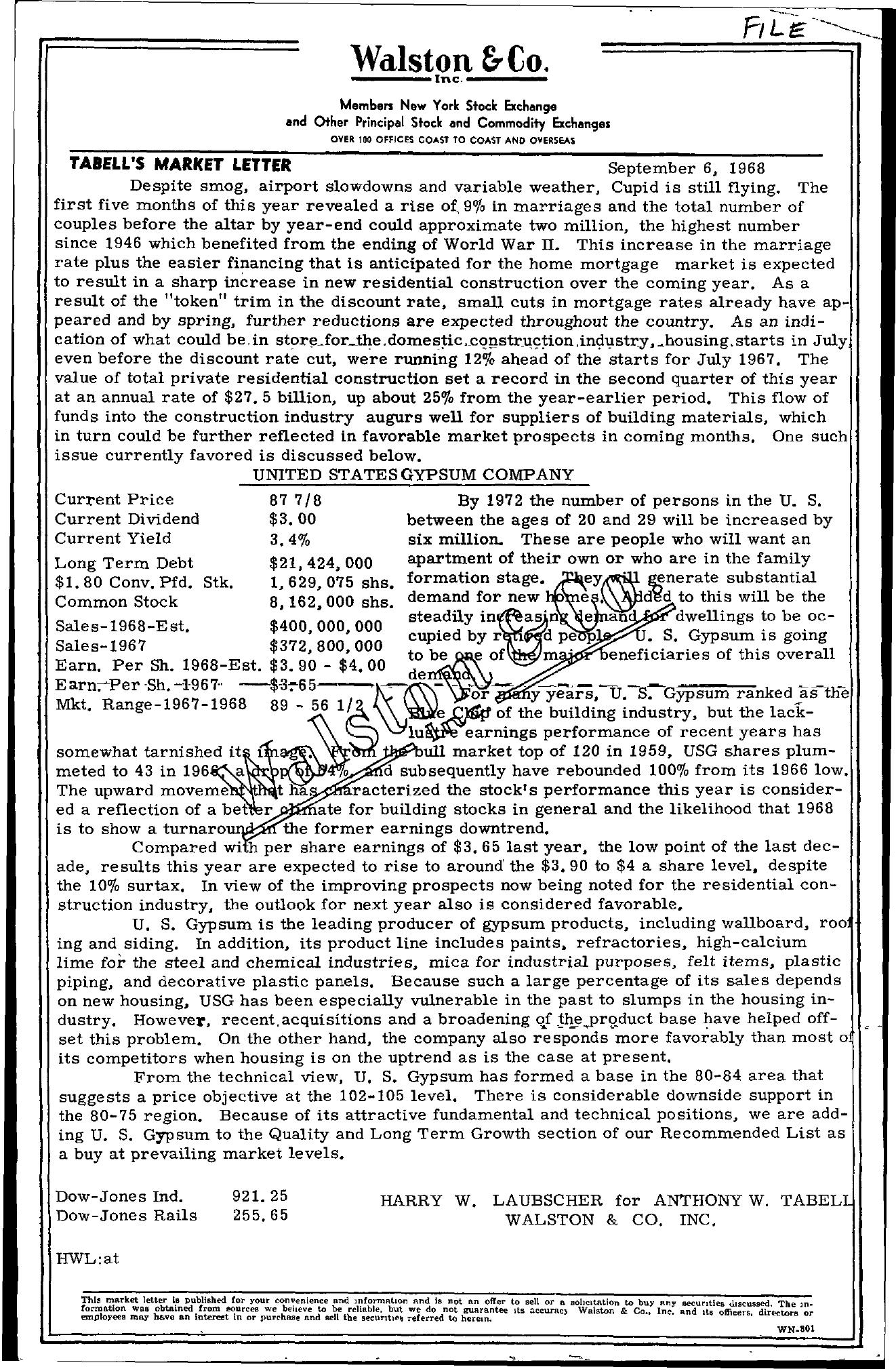 Tabell's Market Letter - September 06, 1968