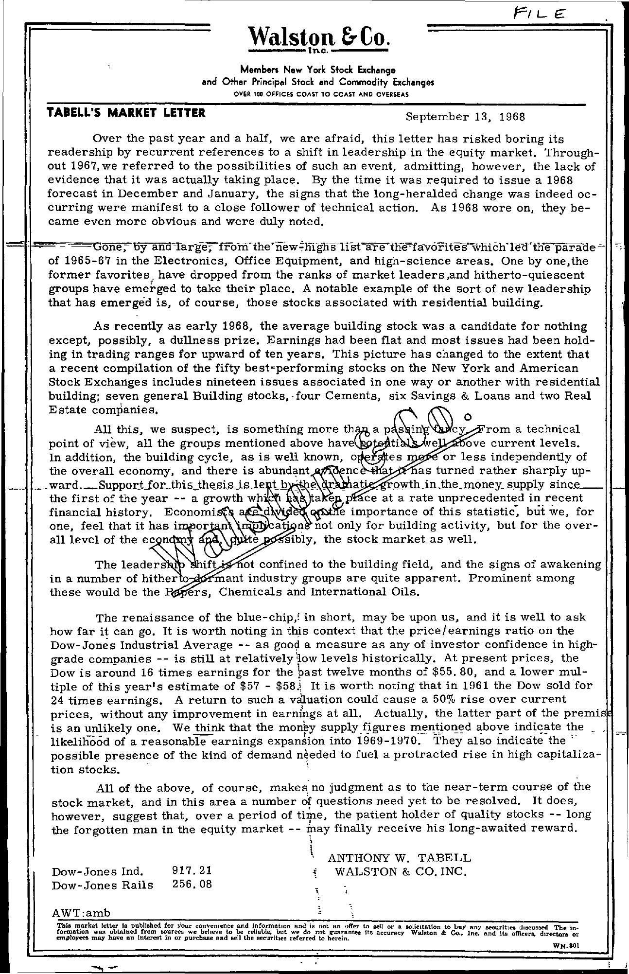 Tabell's Market Letter - September 13, 1968