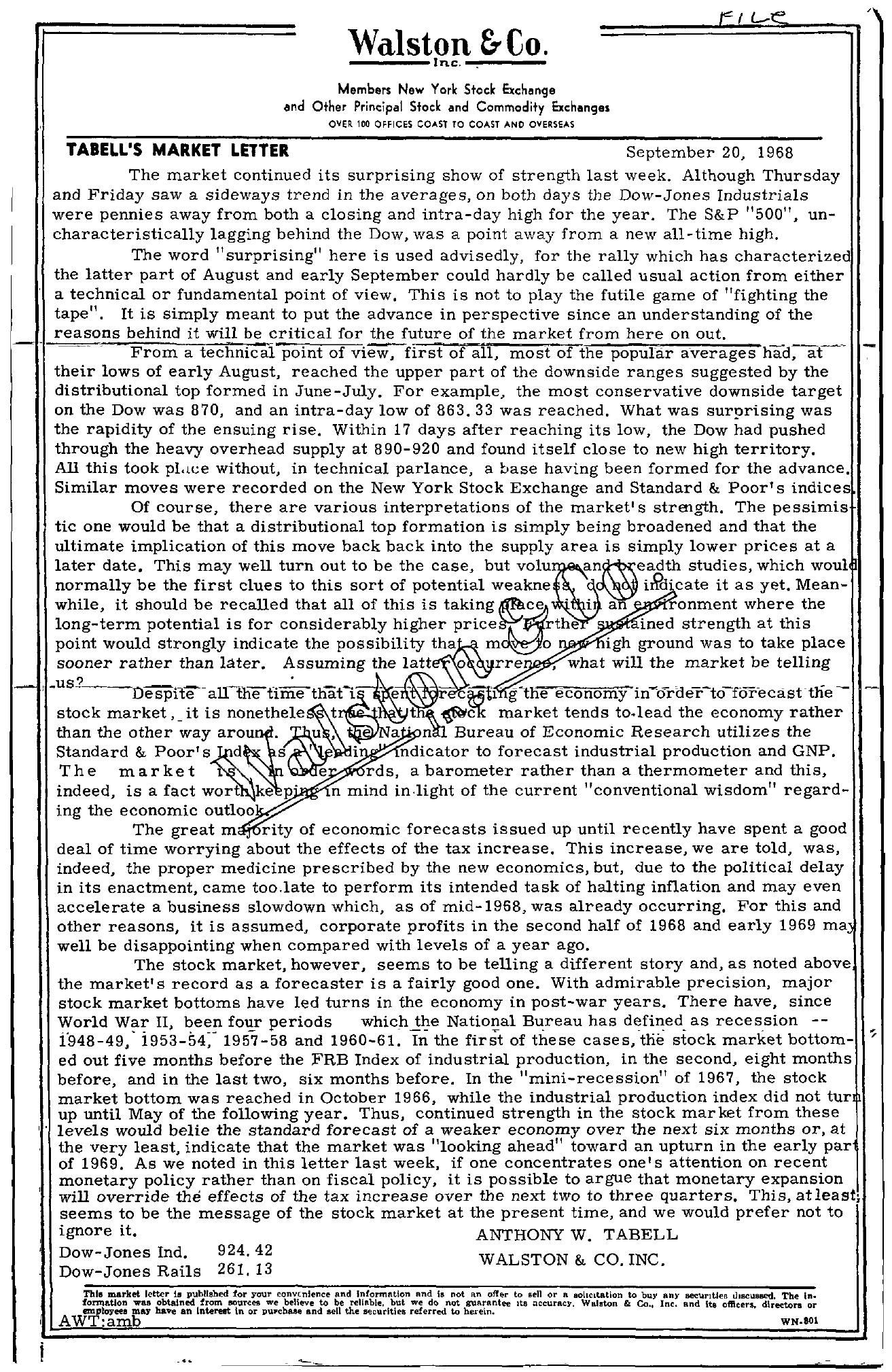 Tabell's Market Letter - September 20, 1968